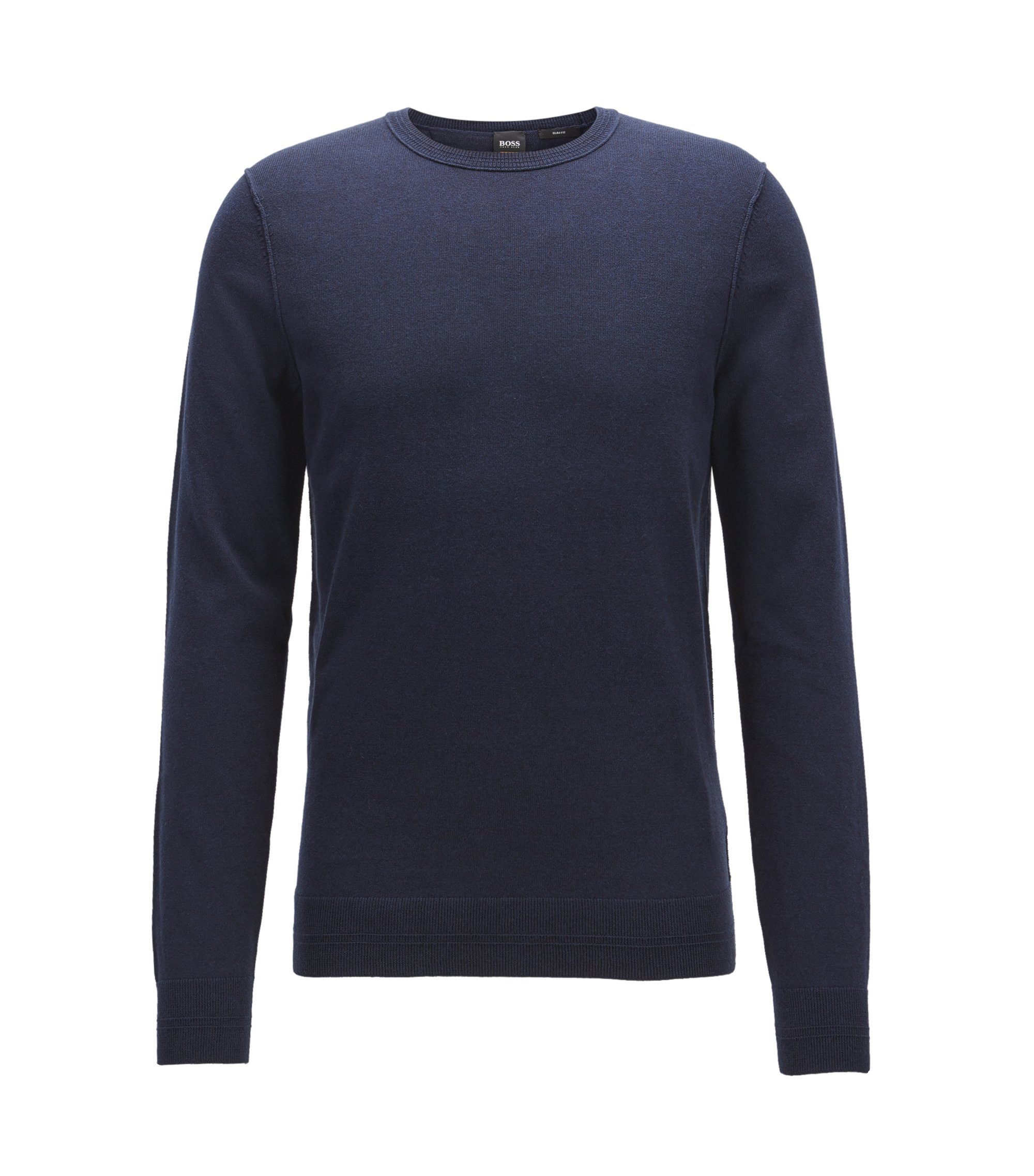 Jersey en mezcla de algodón con cuello redondo y detalles de canalé en 3D, Azul oscuro