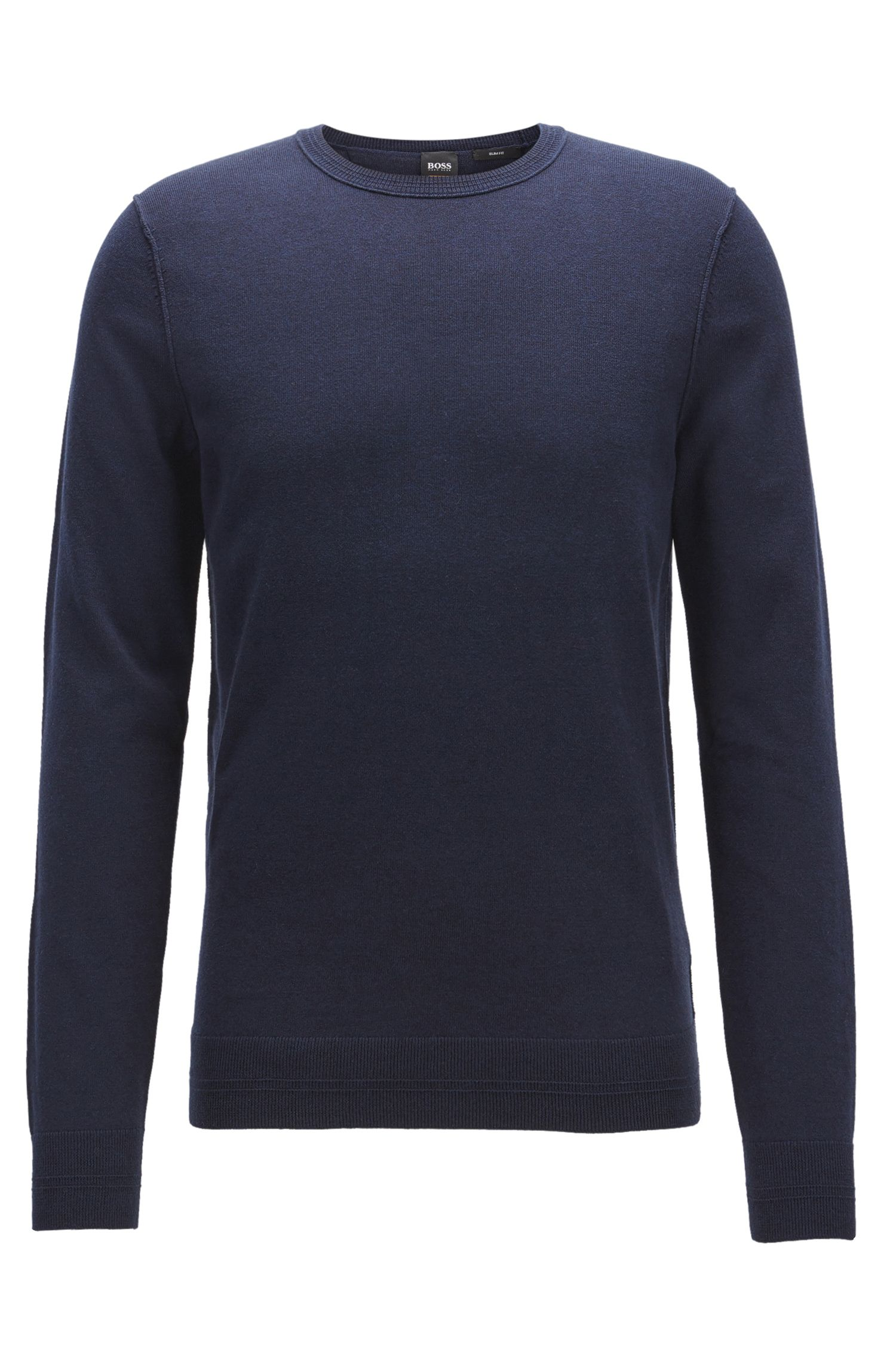 Jersey en mezcla de algodón con cuello redondo y detalles de canalé en 3D