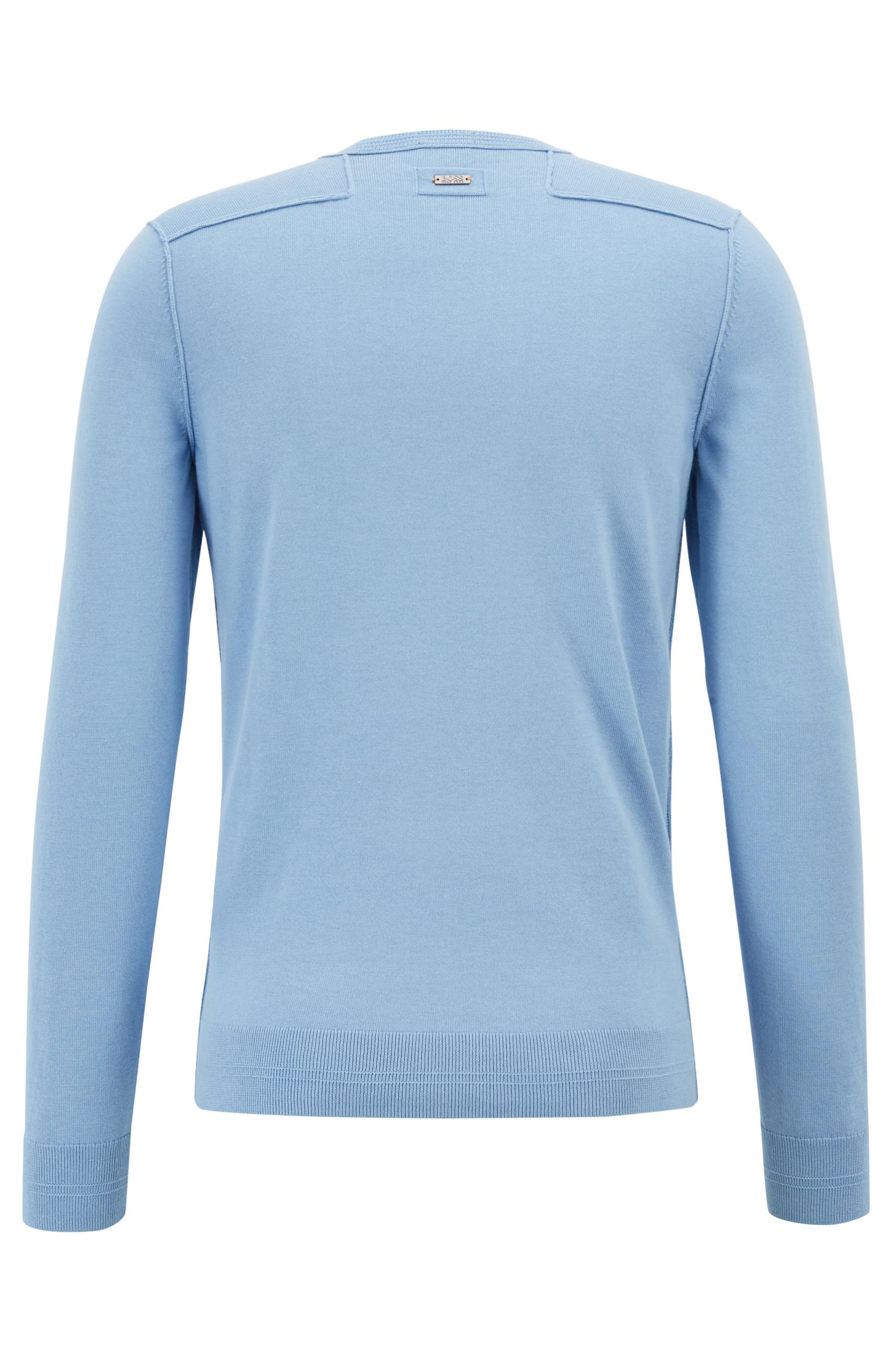 Crew-neck cotton-blend sweater with 3D ribbed accents, Light Blue