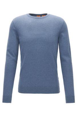 Jersey en mezcla de algodón con cuello redondo y detalles de canalé en 3D, Azul