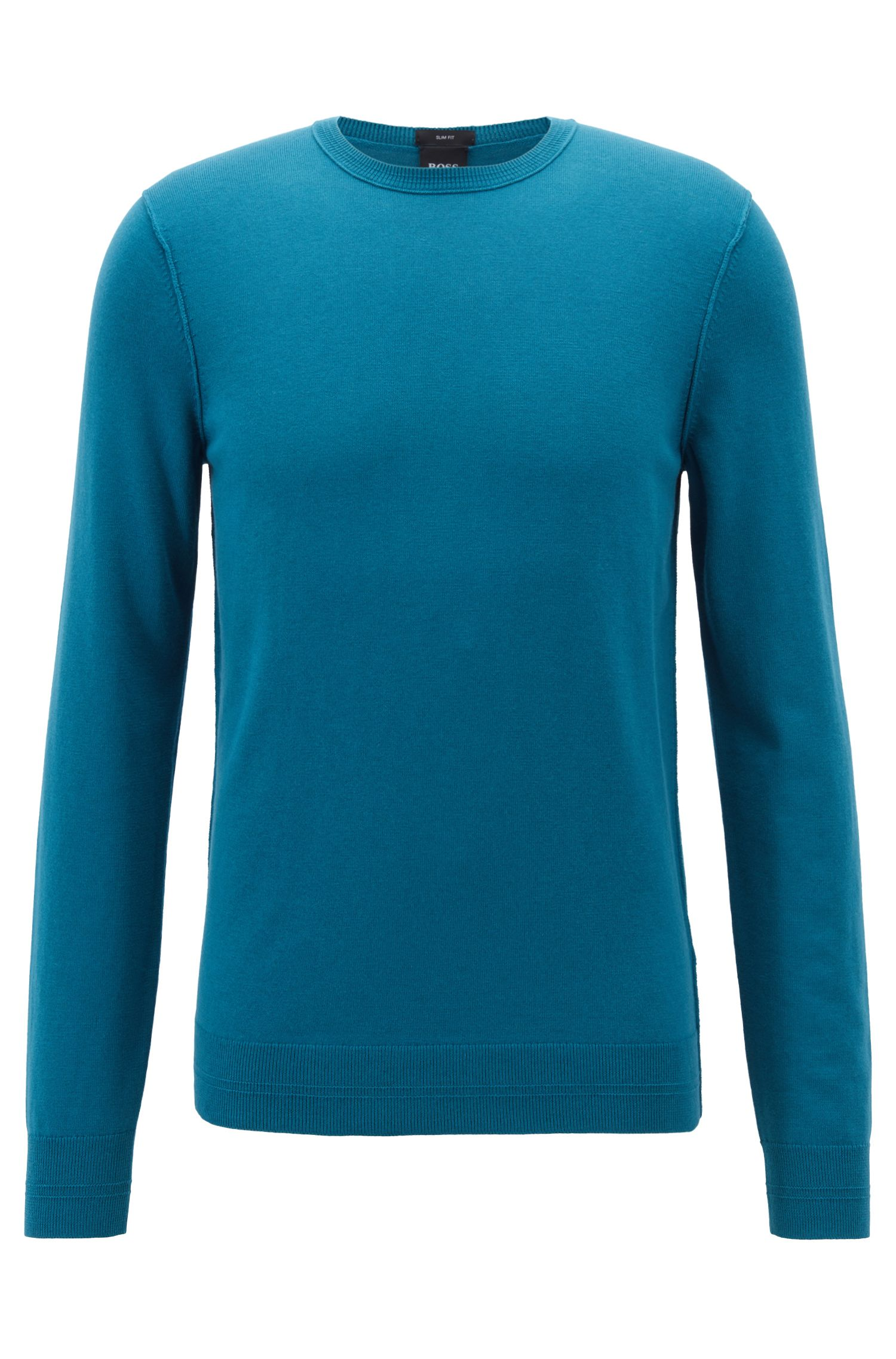 Crew-neck cotton-blend sweater with 3D ribbed accents, Blue