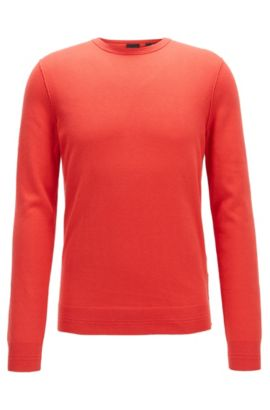 Crew-neck cotton-blend sweater with 3D ribbed accents, Red