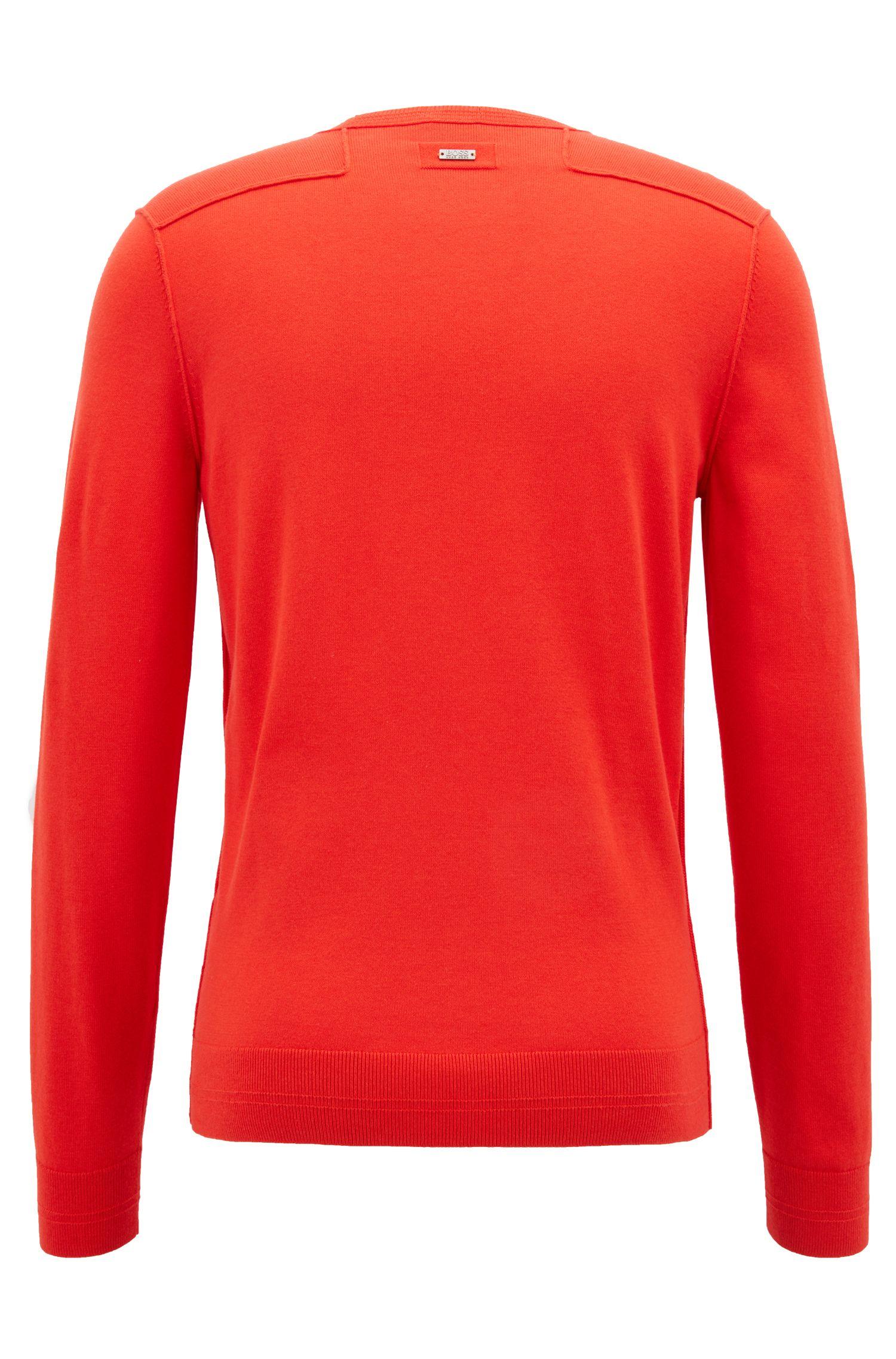 Jersey en mezcla de algodón con cuello redondo y detalles de canalé en 3D, Rojo