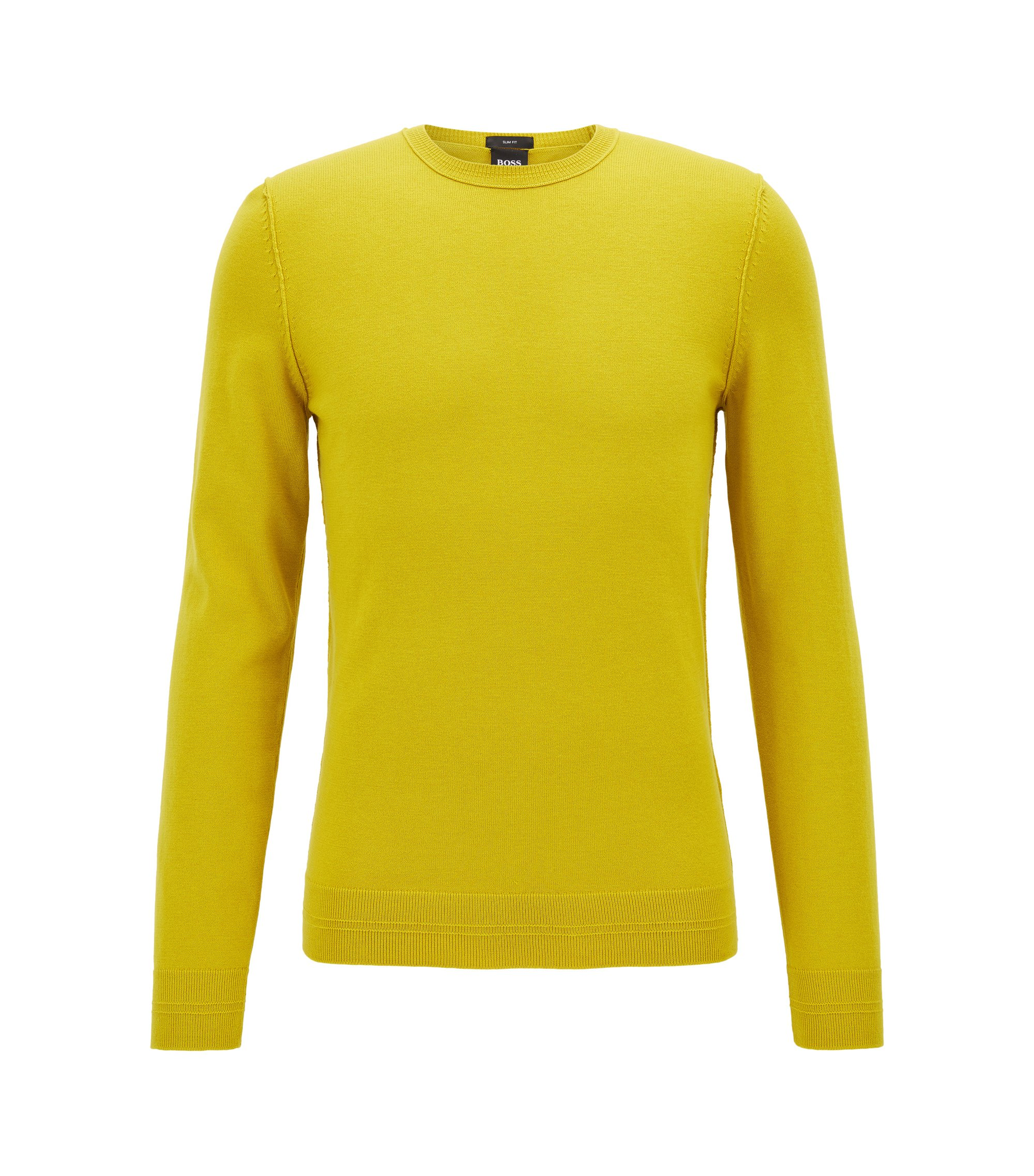 Crew-neck cotton-blend sweater with 3D ribbed accents, Yellow
