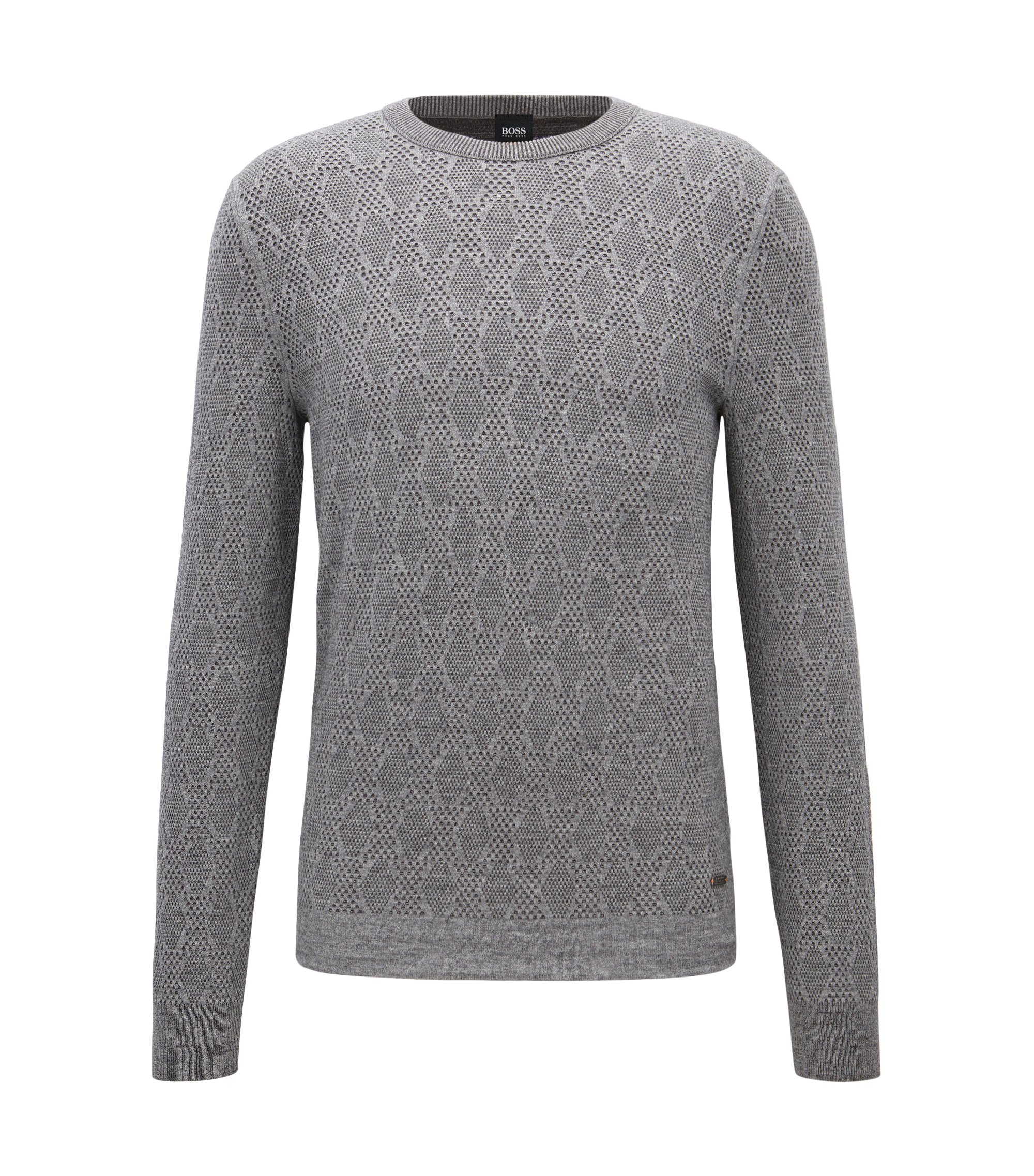 Two-tone structured sweater in a cotton blend, Grey