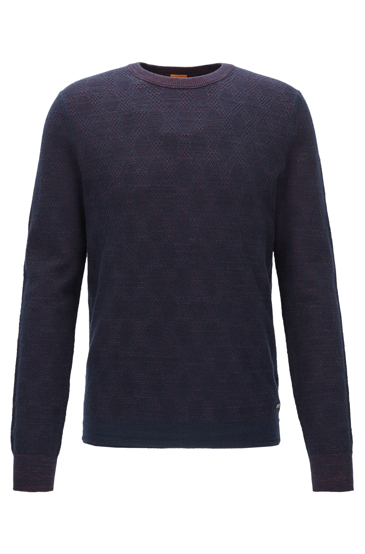 Two-tone structured sweater in a cotton blend