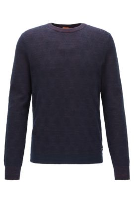 Two-tone structured sweater in a cotton blend, Dark Blue