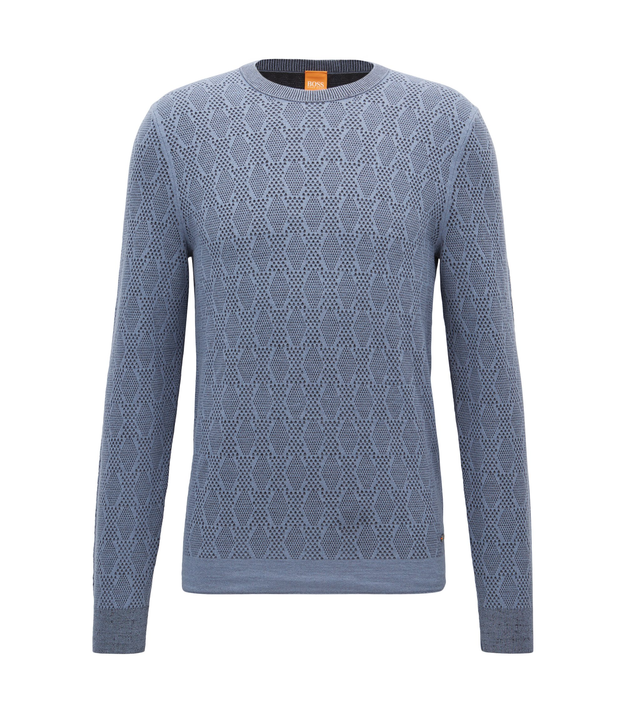 Two-tone structured sweater in a cotton blend, Light Blue