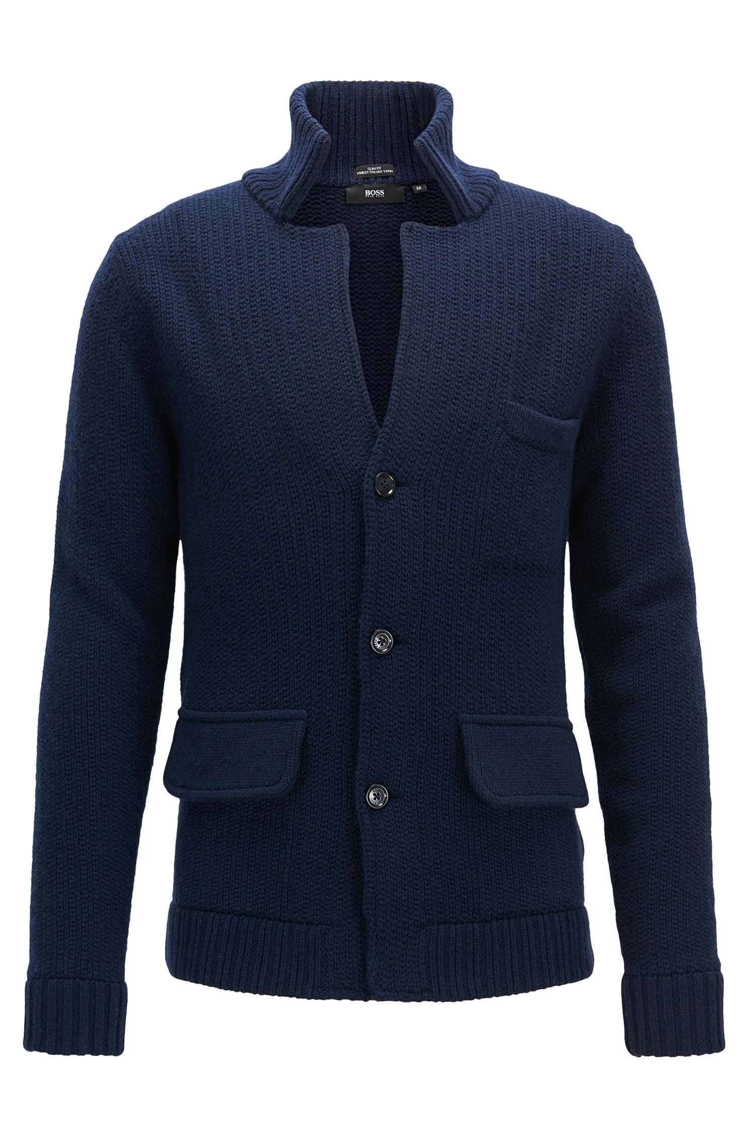 Slim-fit knitted jacket in a wool blend