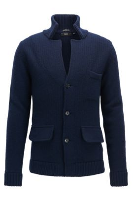 Slim-fit knitted jacket in a wool blend, Dark Blue