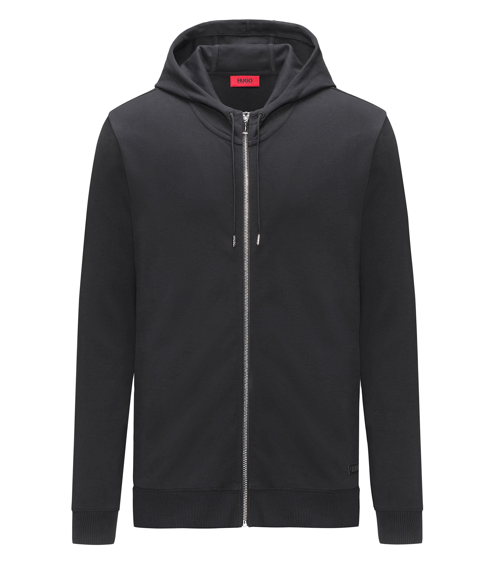 Zip-through hooded sweater in interlock cotton, Black