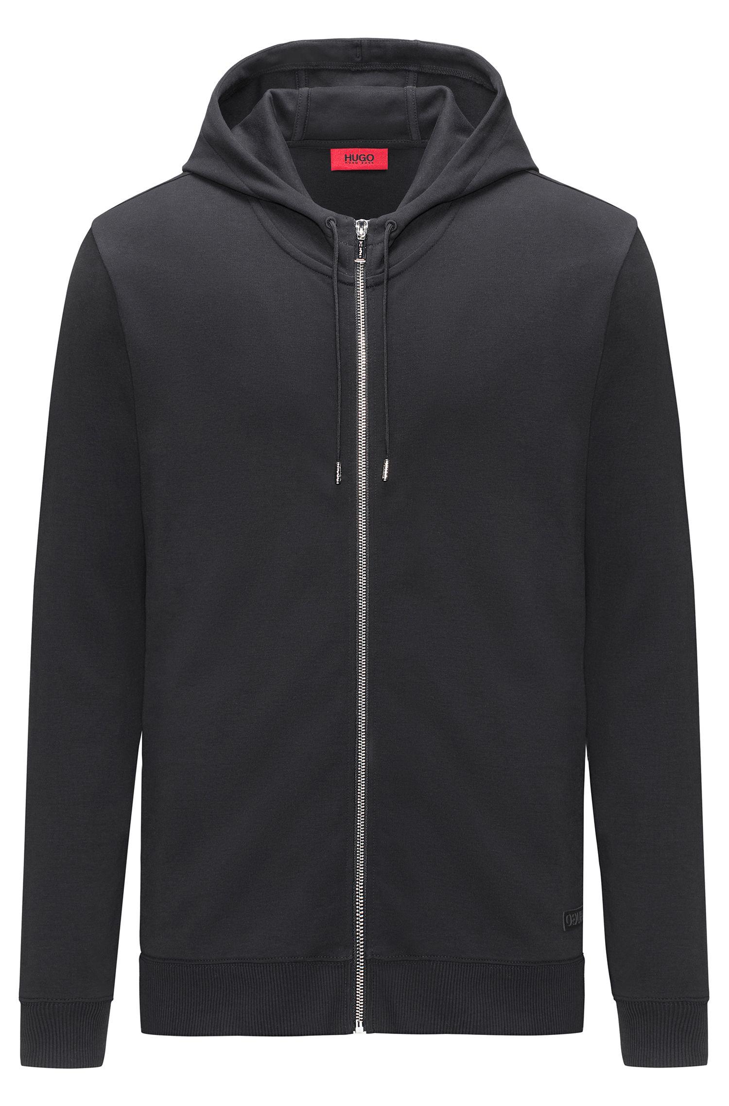 Maglione con cappuccio e zip integrale in cotone intrecciato