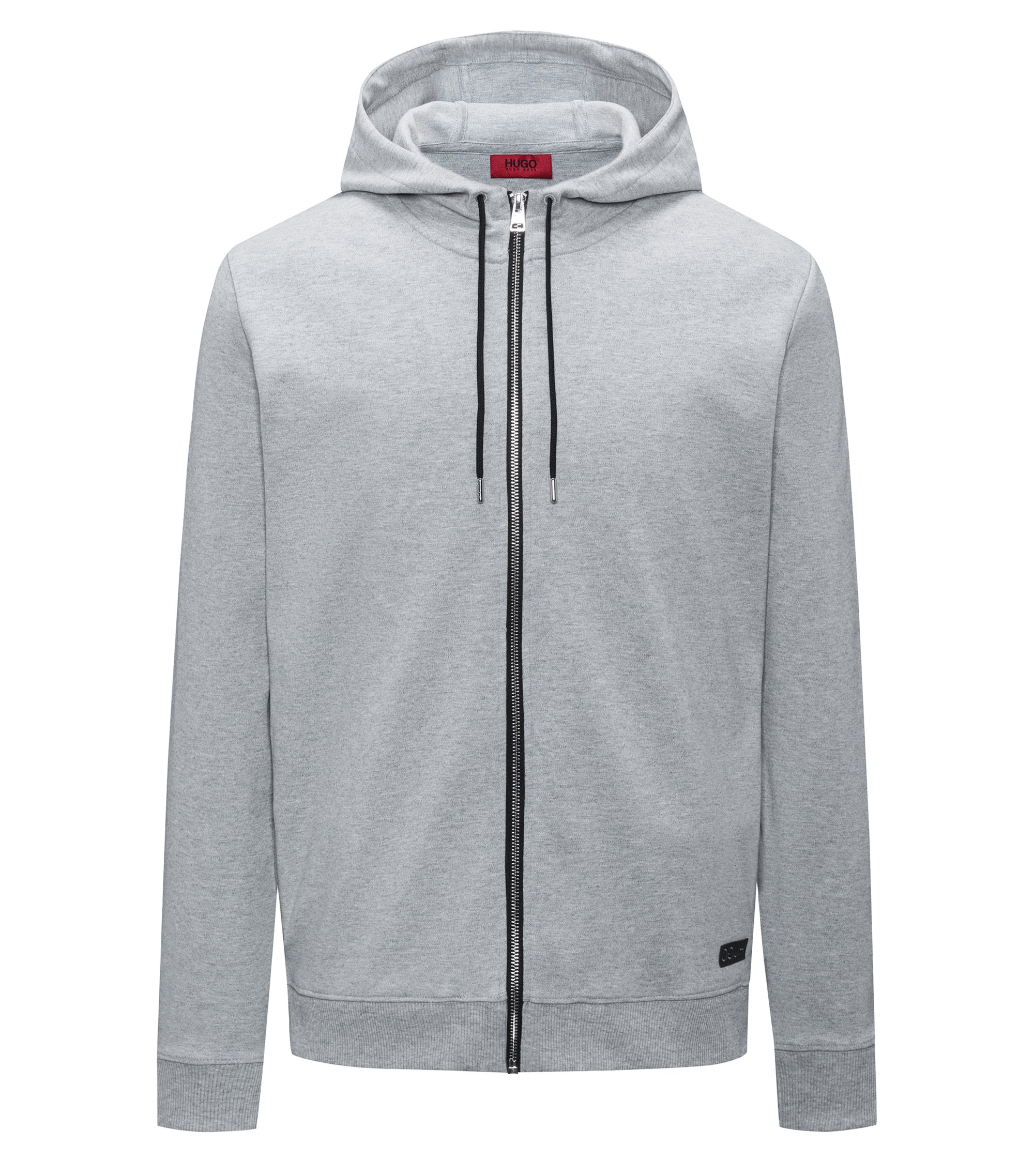 Zip-through hooded sweater in interlock cotton, Dark Grey