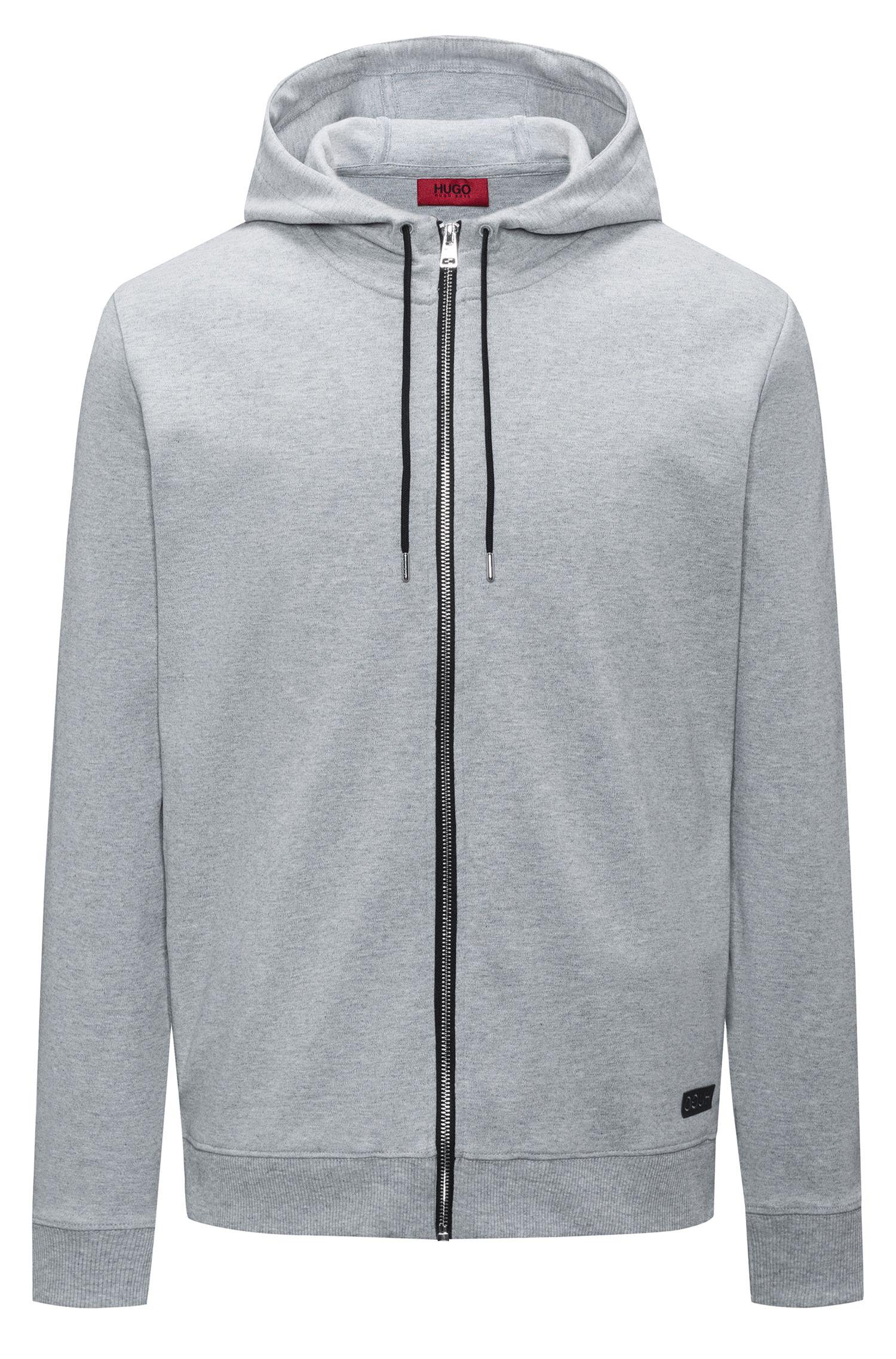 Jersey con capucha y cremallera integral en algodón interlock