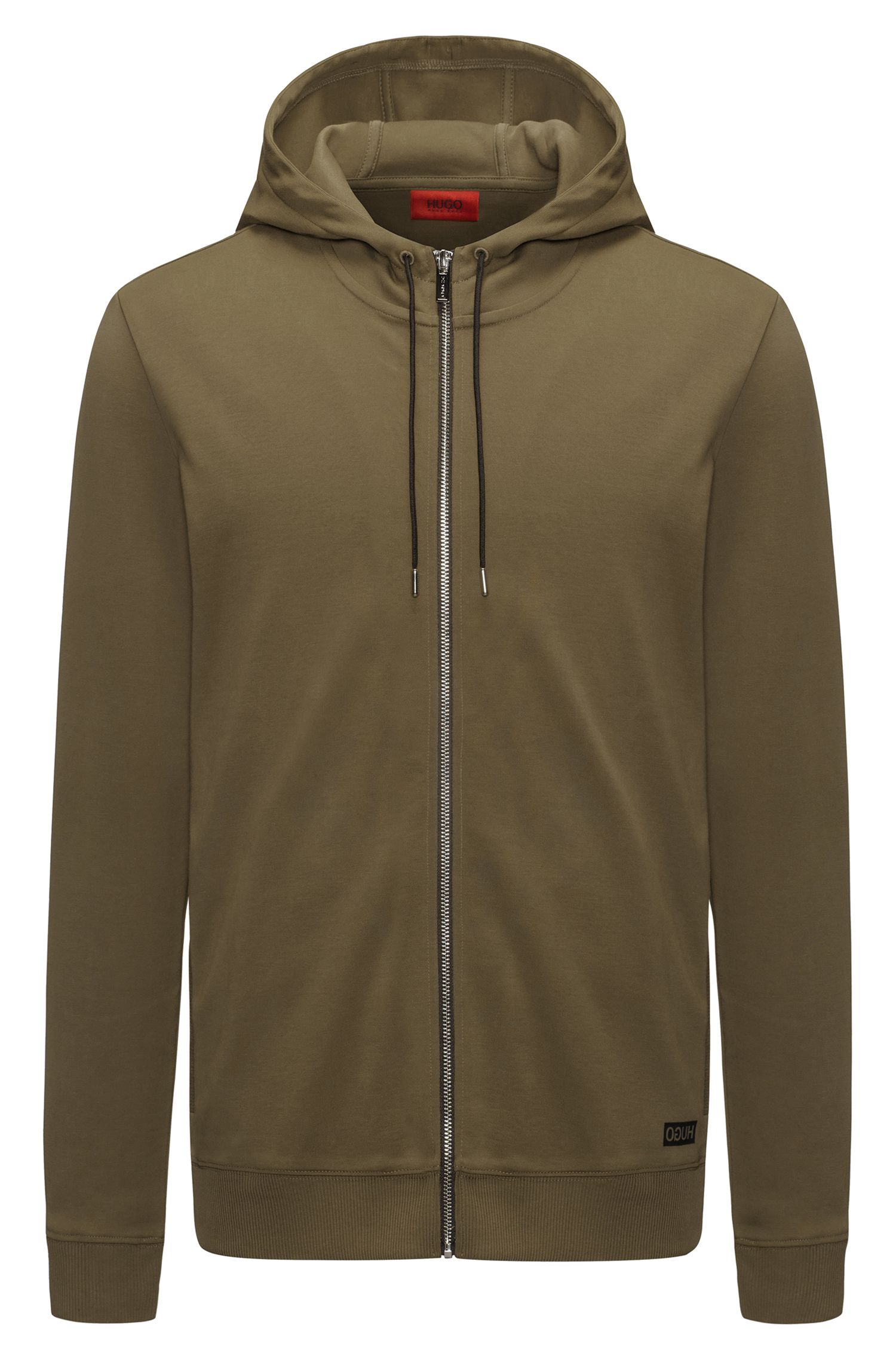 Zip-through hooded sweater in interlock cotton