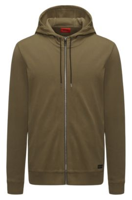 Zip-through hooded sweater in interlock cotton, Dark Green