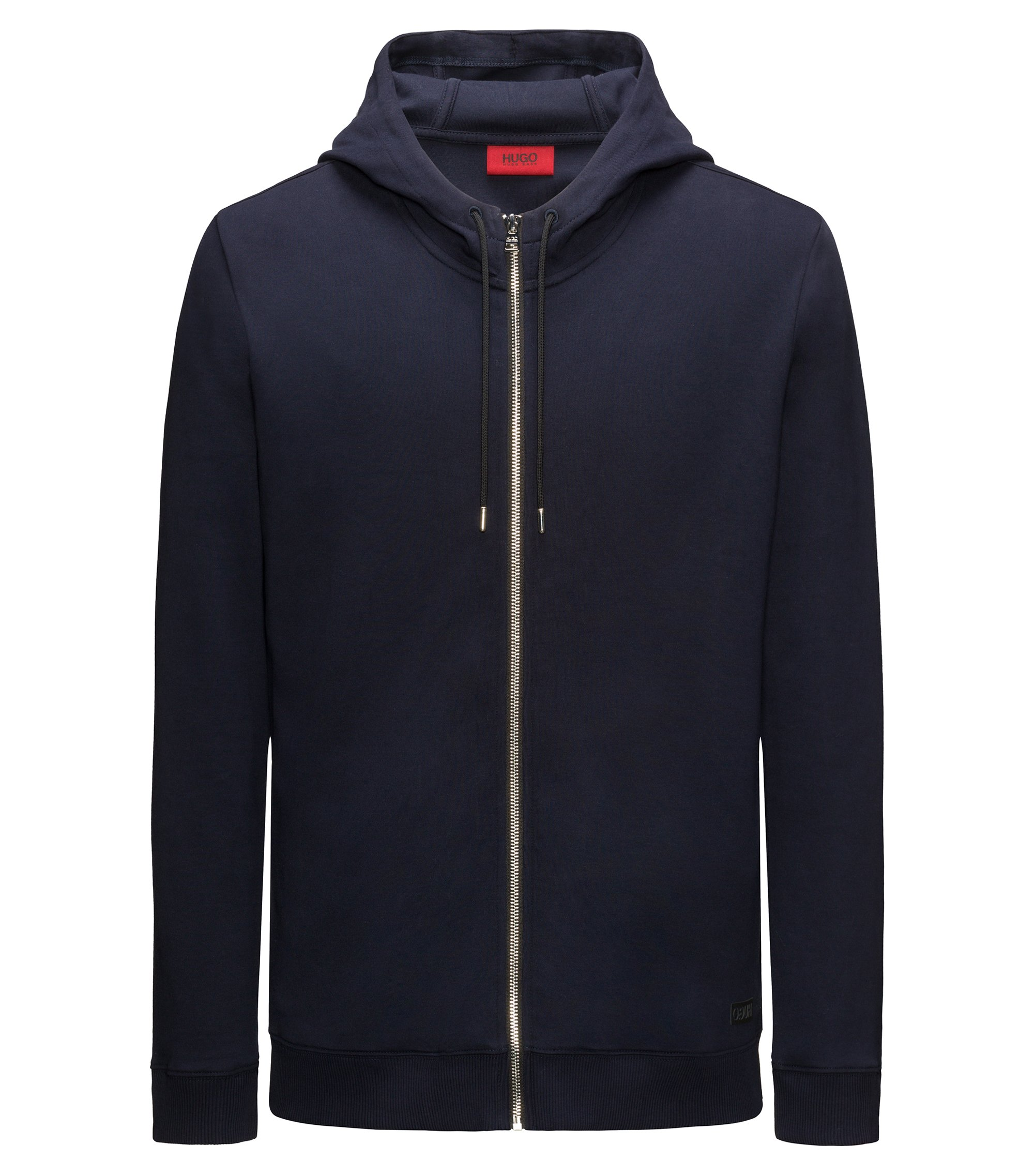 Zip-through hooded sweater in interlock cotton, Dark Blue