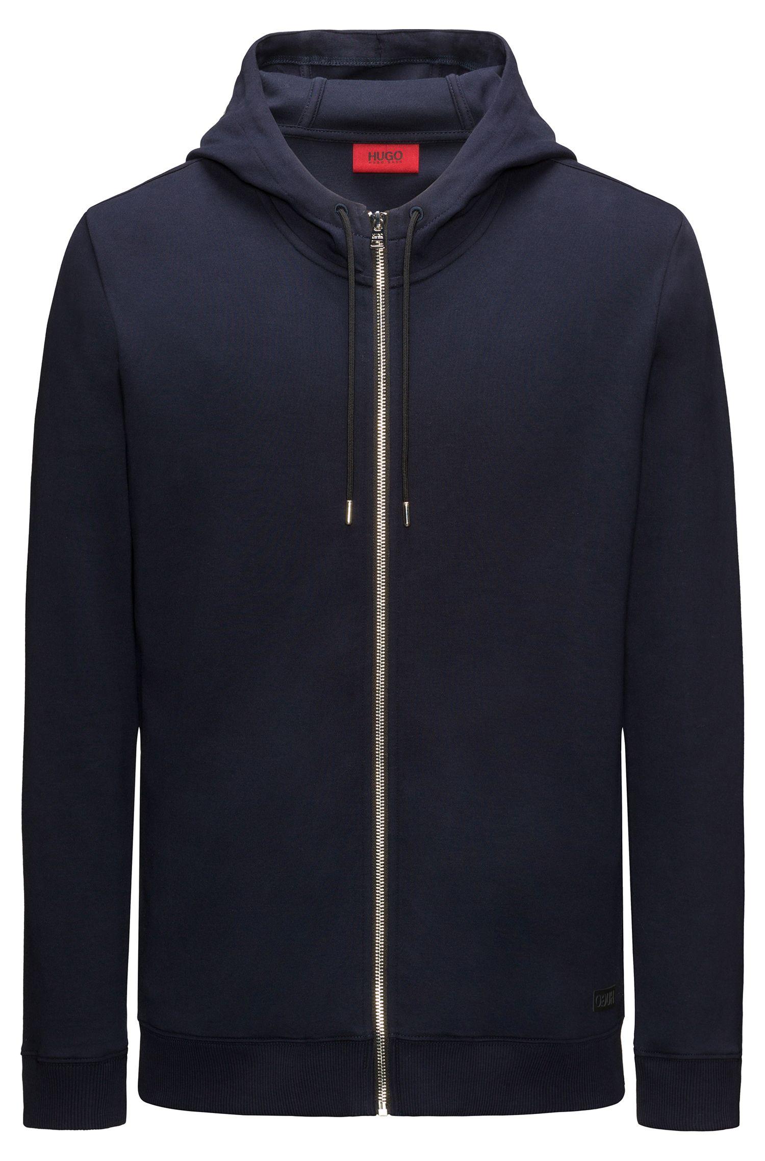 Zip-through hooded sweater in interlock cotton