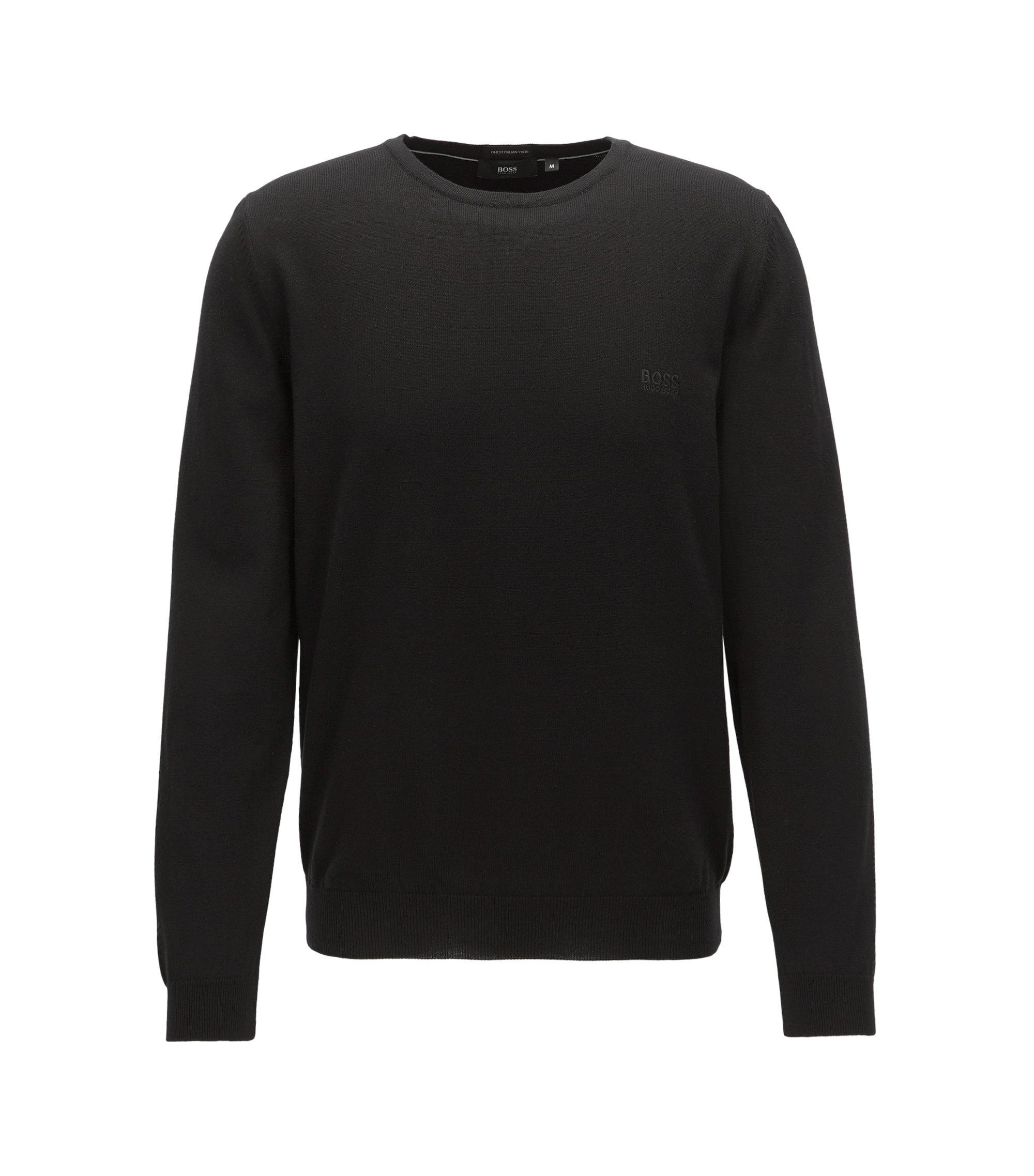 Pull à col ras-du-cou en coton avec logo brodé, Noir