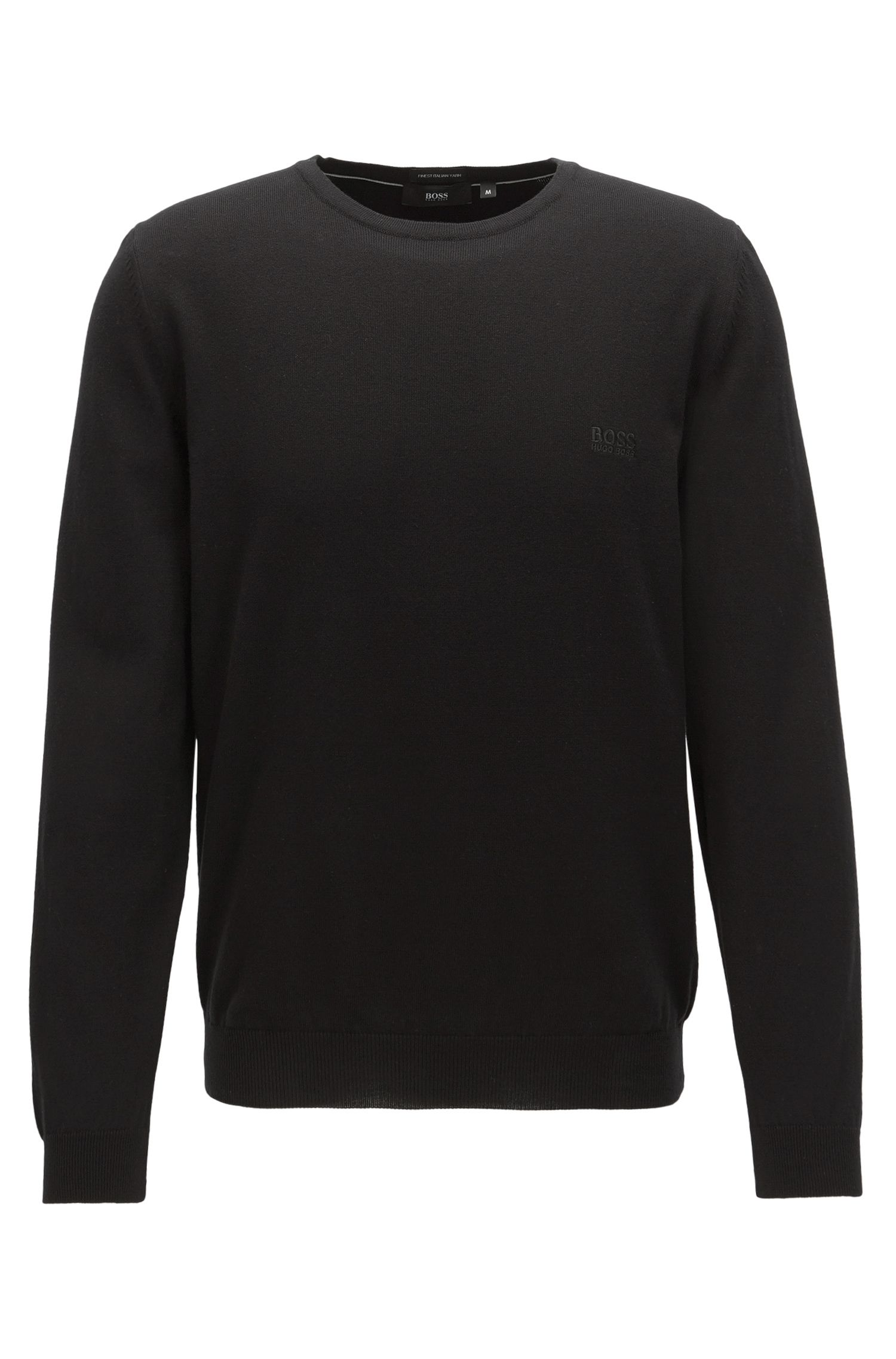 Crew-neck cotton sweater with logo embroidery