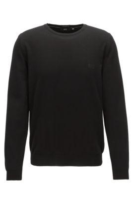 Jersey de algodón con cuello redondo y logo bordado, Negro