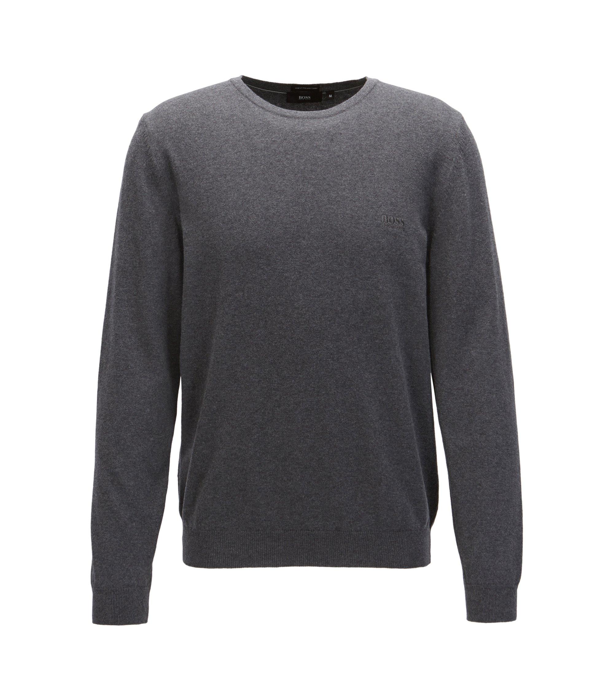 Pullover aus Baumwolle mit Rundhalsausschnitt und Logo-Stickerei, Grau