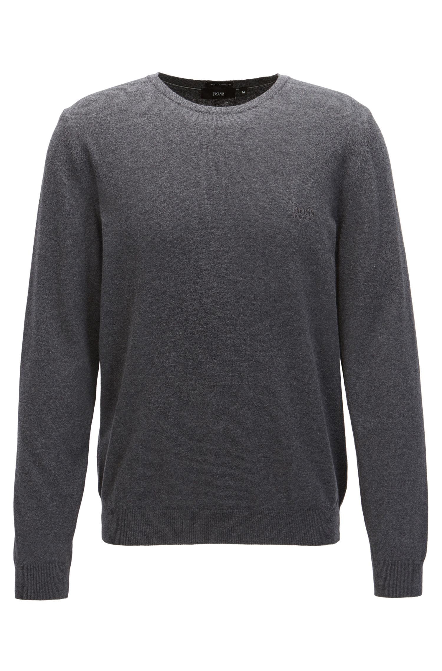 Crew-neck cotton sweater with logo embroidery, Grey