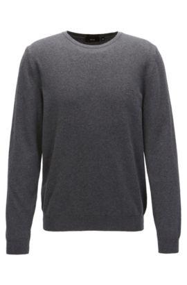 Jersey de algodón con cuello redondo y logo bordado, Gris