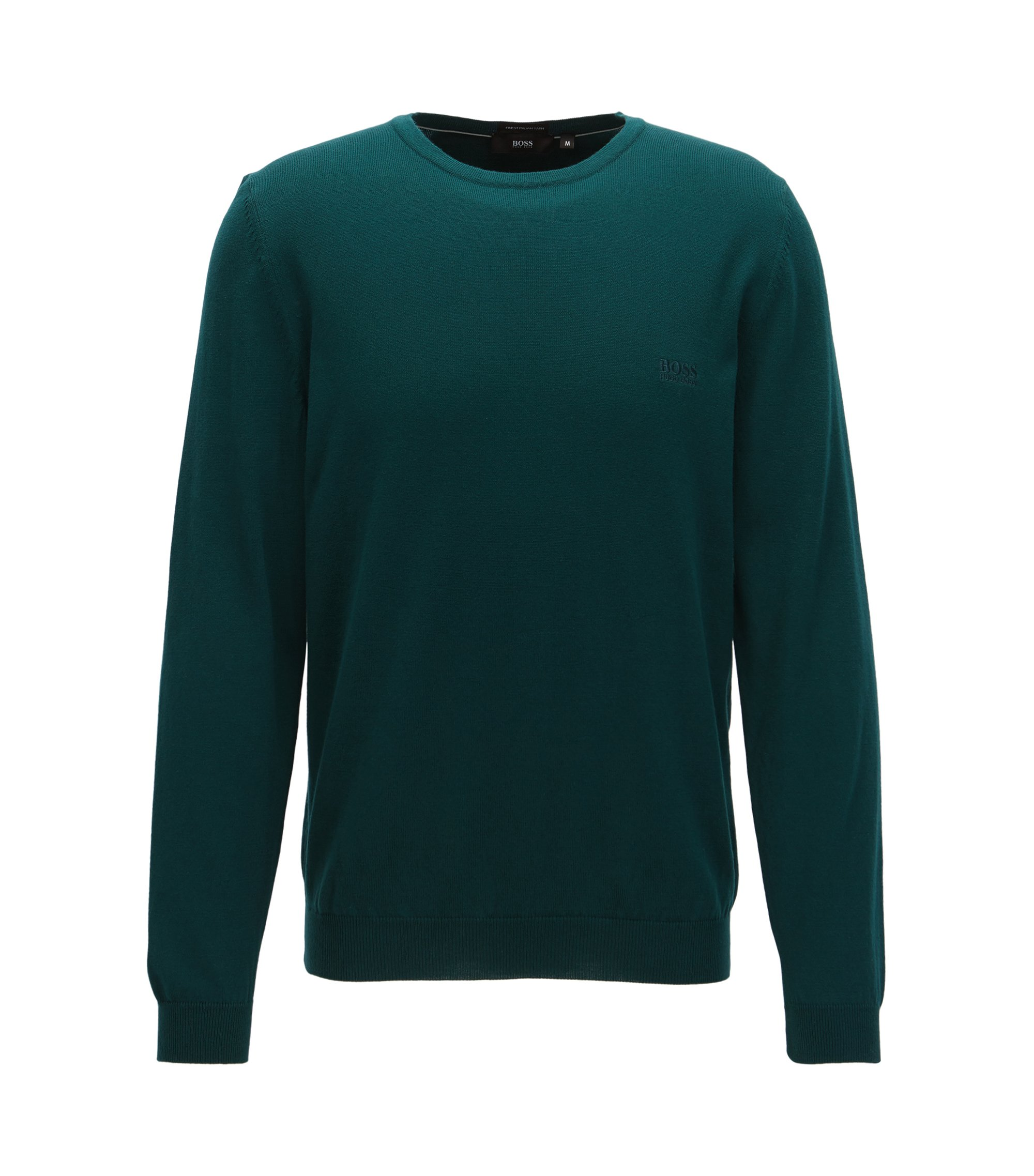 Crew-neck cotton sweater with logo embroidery, Dark Green