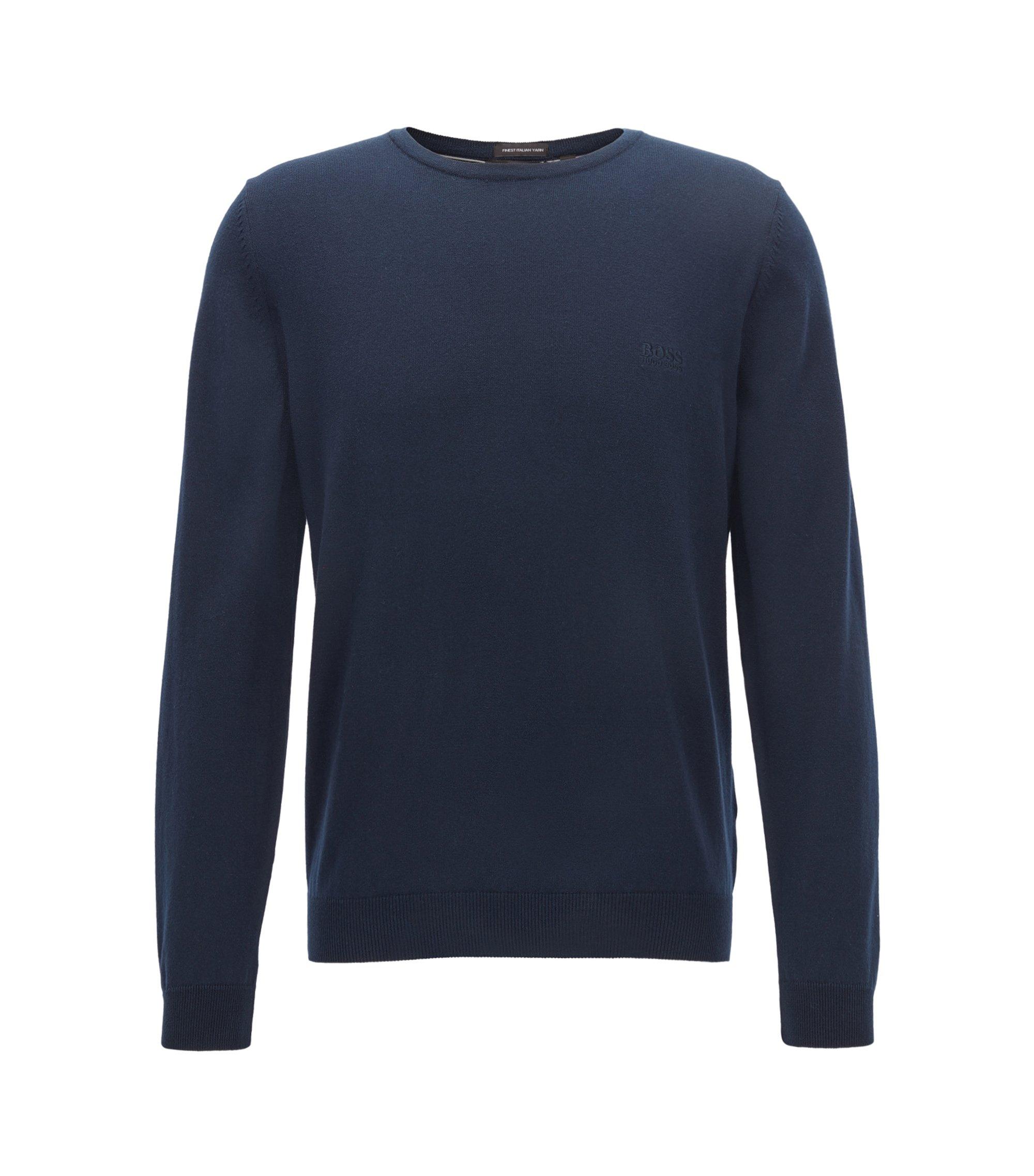 Maglione in cotone con scollatura a girocollo e logo ricamato, Blu scuro