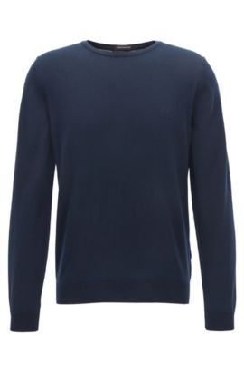 Crew-neck cotton sweater with logo embroidery, Dark Blue