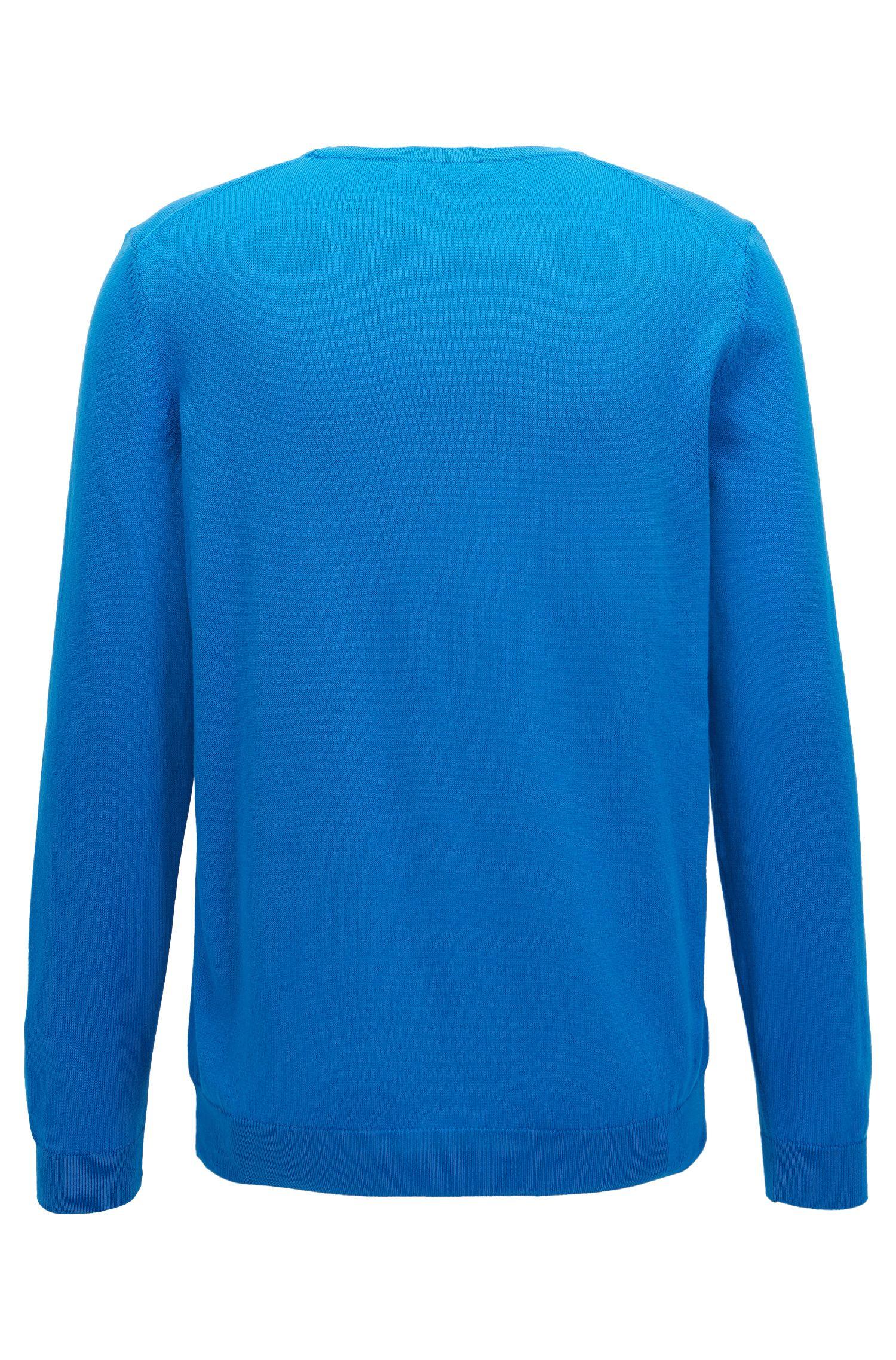 Pull à col ras-du-cou en coton avec logo brodé, Bleu