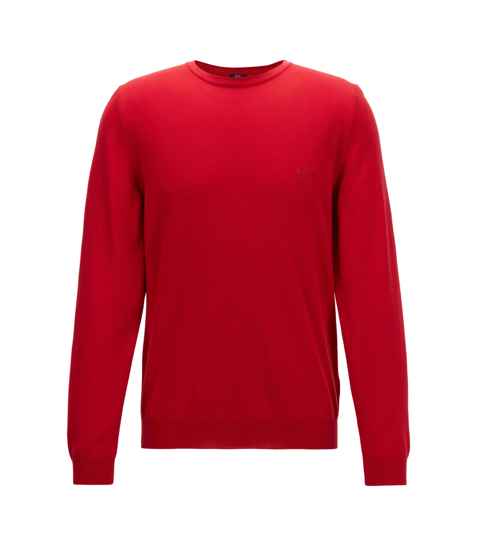 Crew-neck cotton sweater with logo embroidery, Red