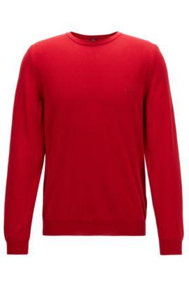 Jersey de algodón con cuello redondo y logo bordado, Rojo