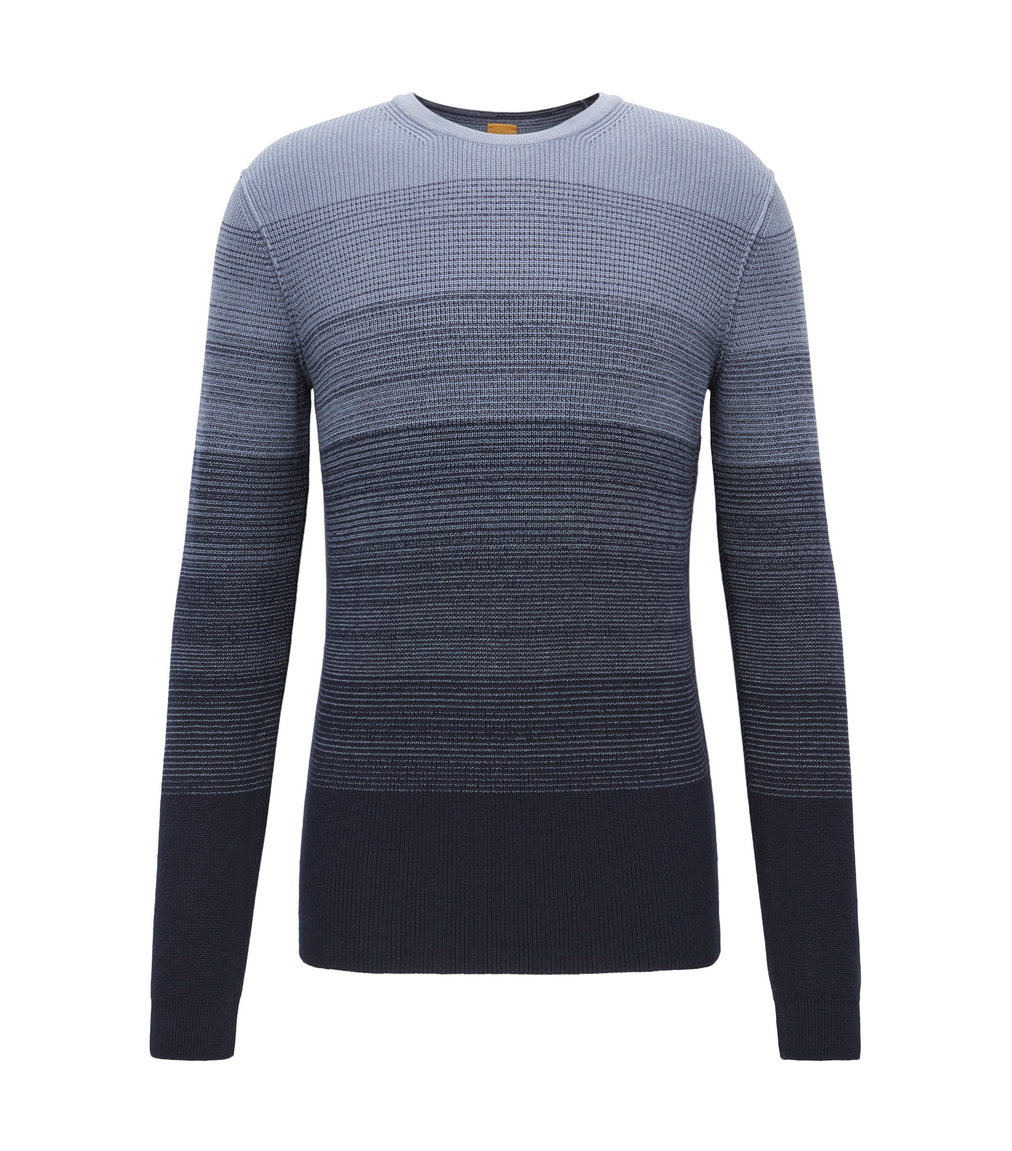 Cotton sweater with dégradé rib structure, Dark Blue