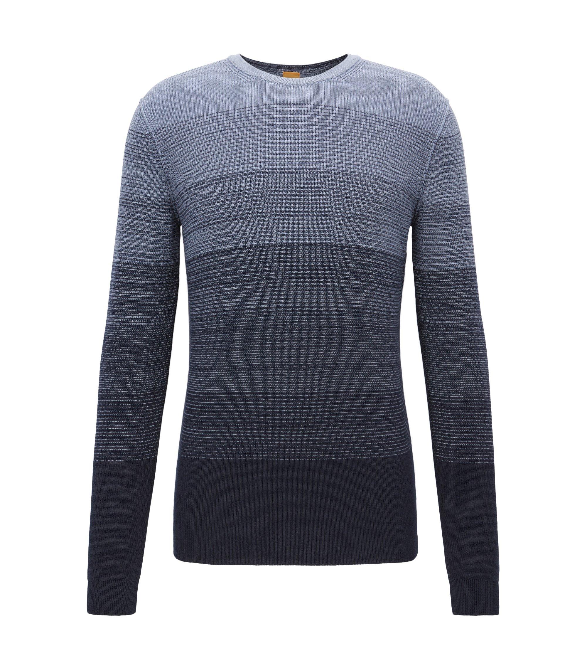 Jersey de algodón con textura de canalé degradada, Azul oscuro