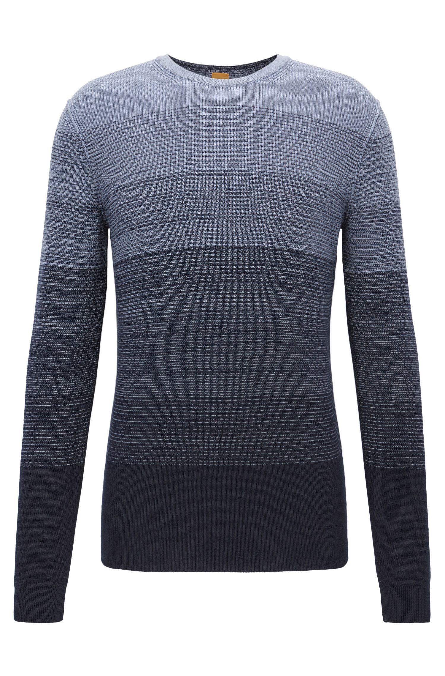 Cotton sweater with dégradé rib structure
