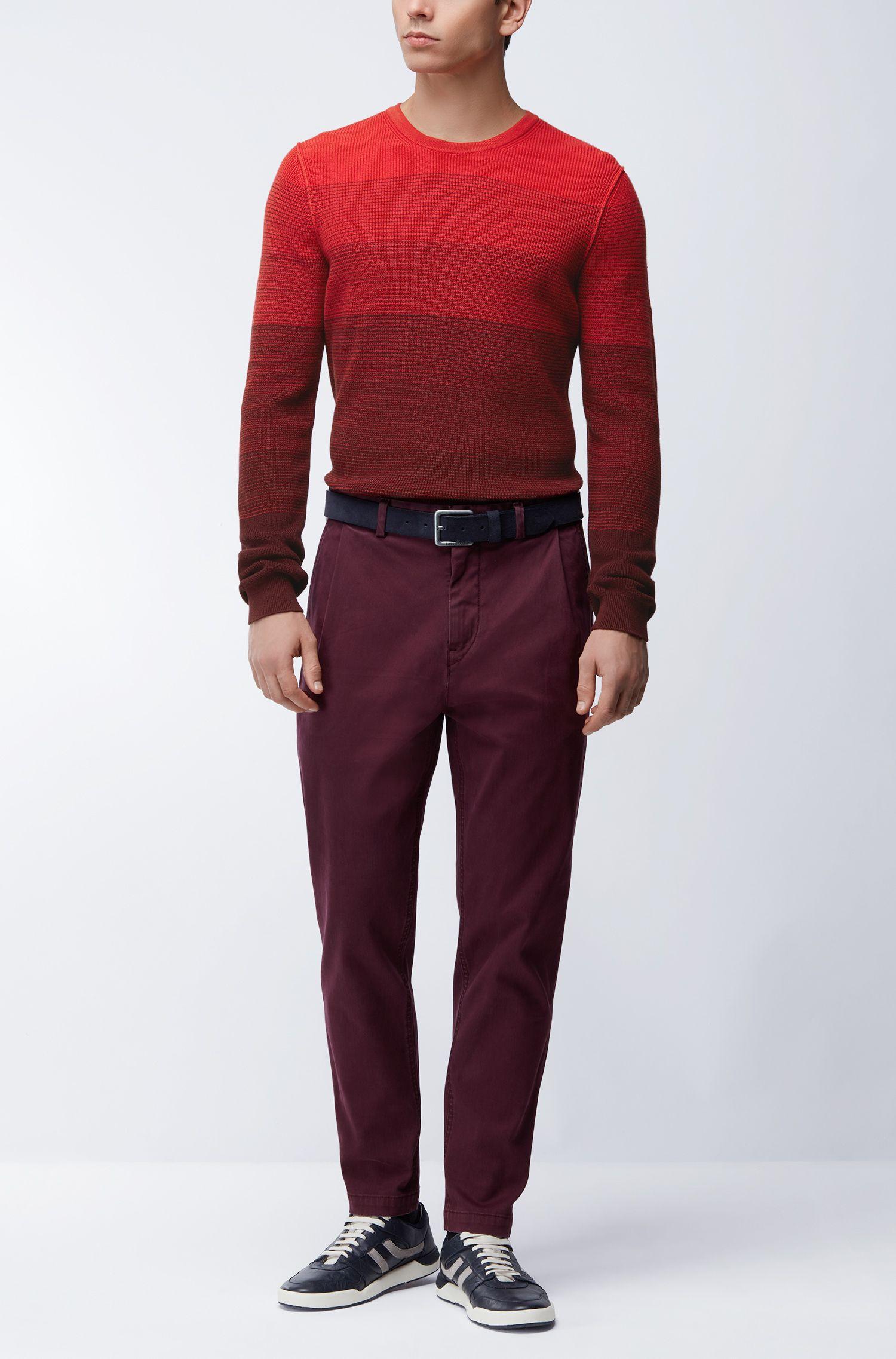 Jersey de algodón con textura de canalé degradada, Rojo