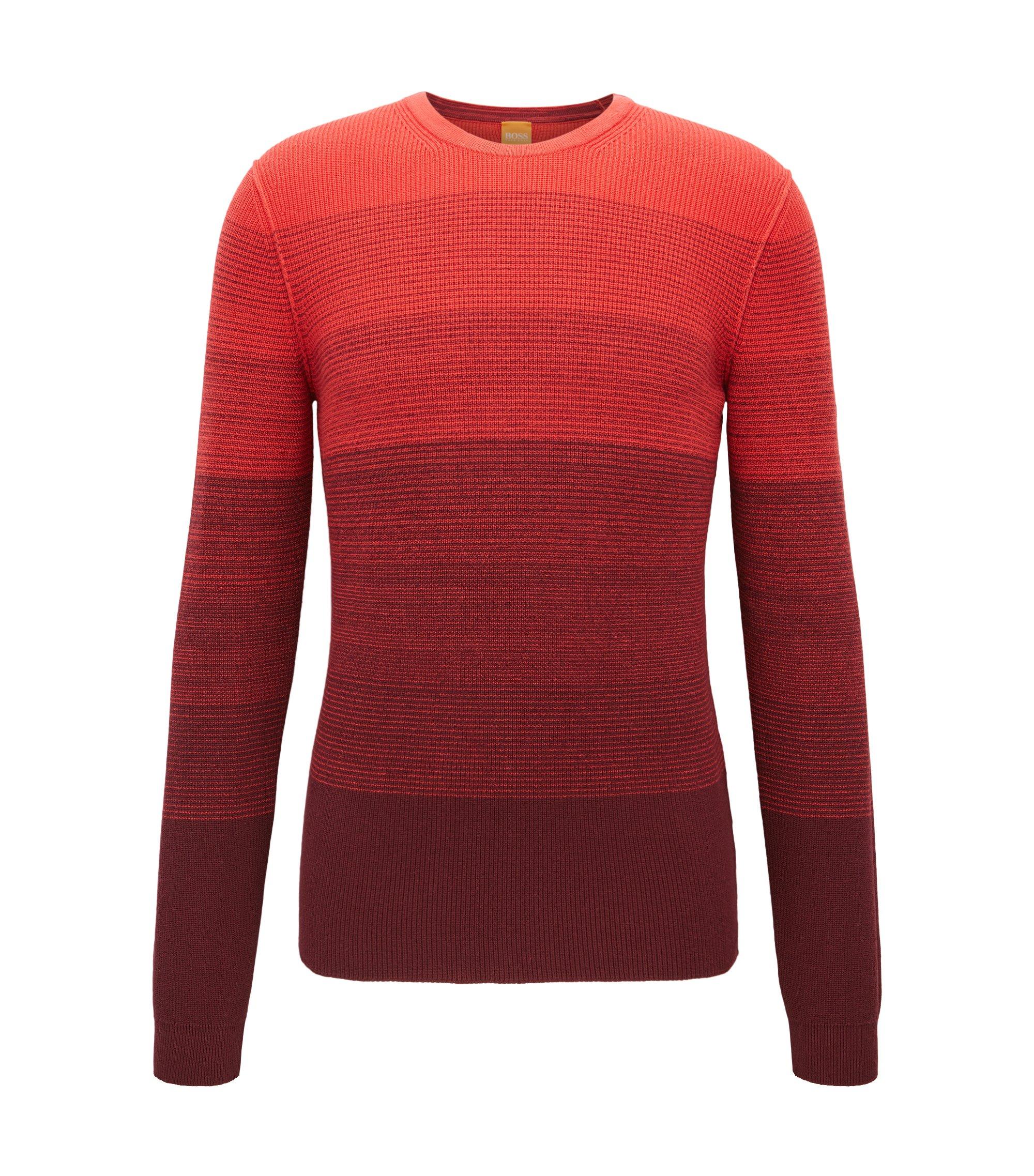 Maglione in cotone con lavorazione a coste e sfumature dégradé, Rosso