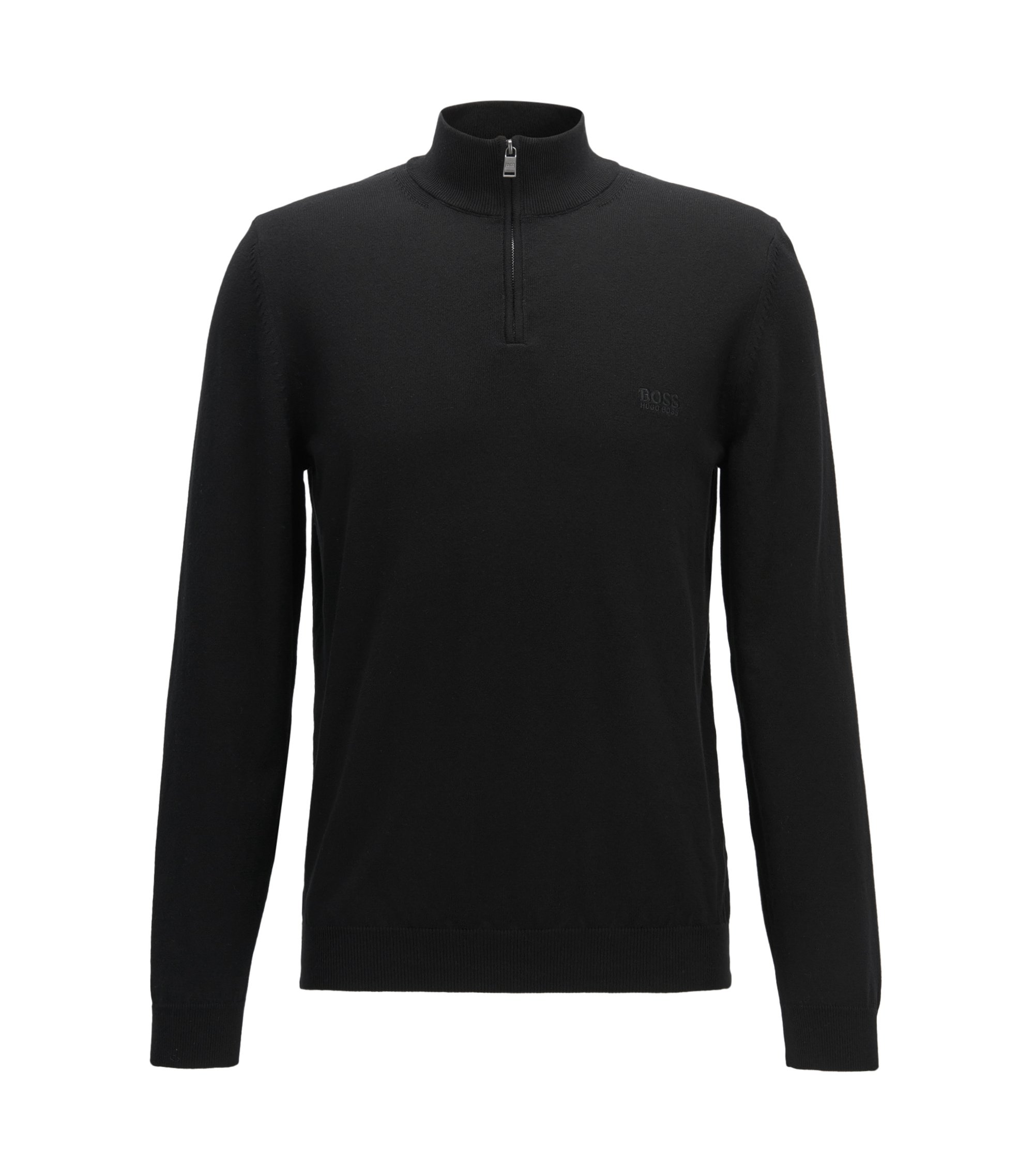 Pull zippé Regular Fit en coton italien, Noir
