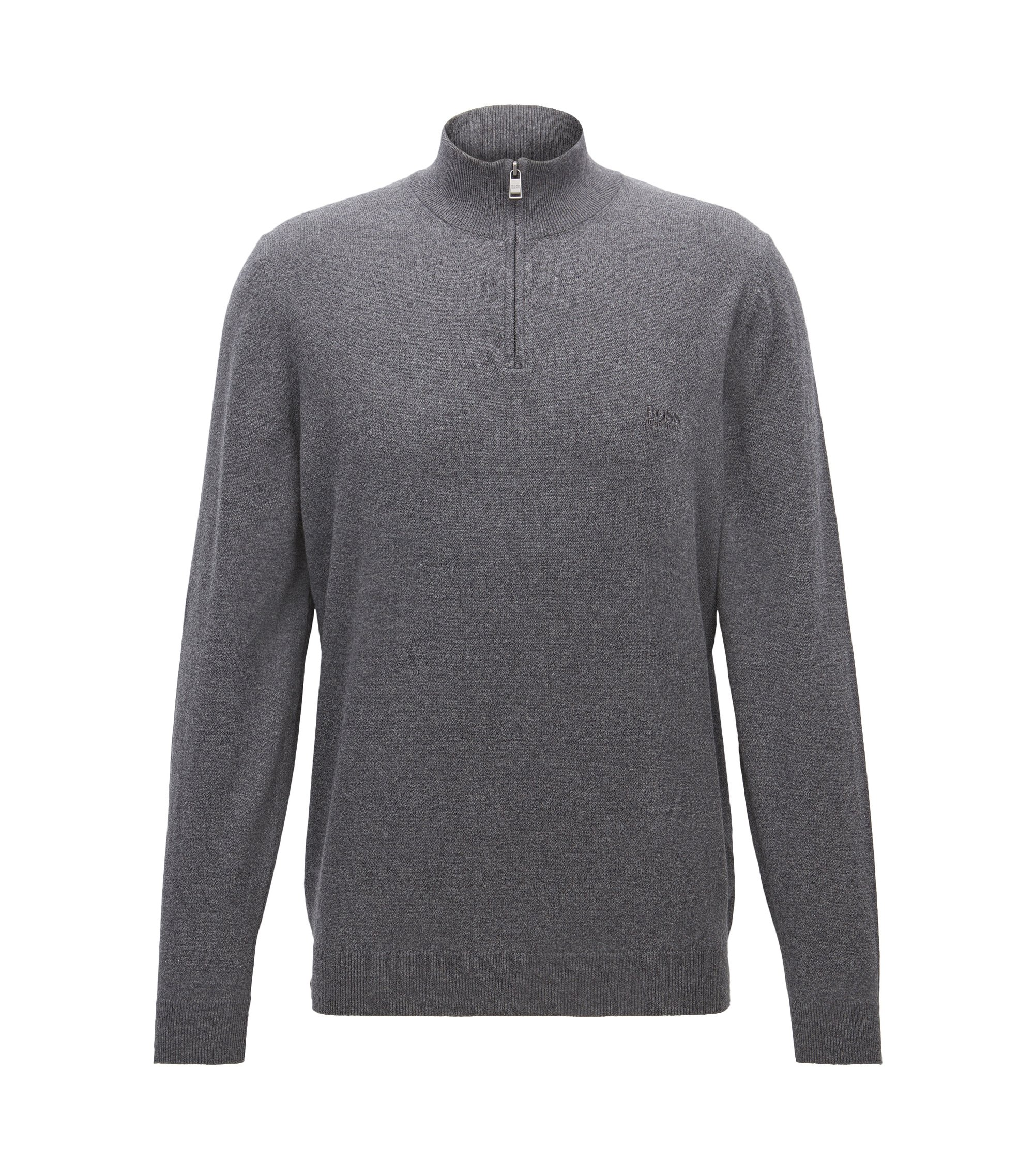 Regular-fit zip-neck sweater in Italian cotton, Grey
