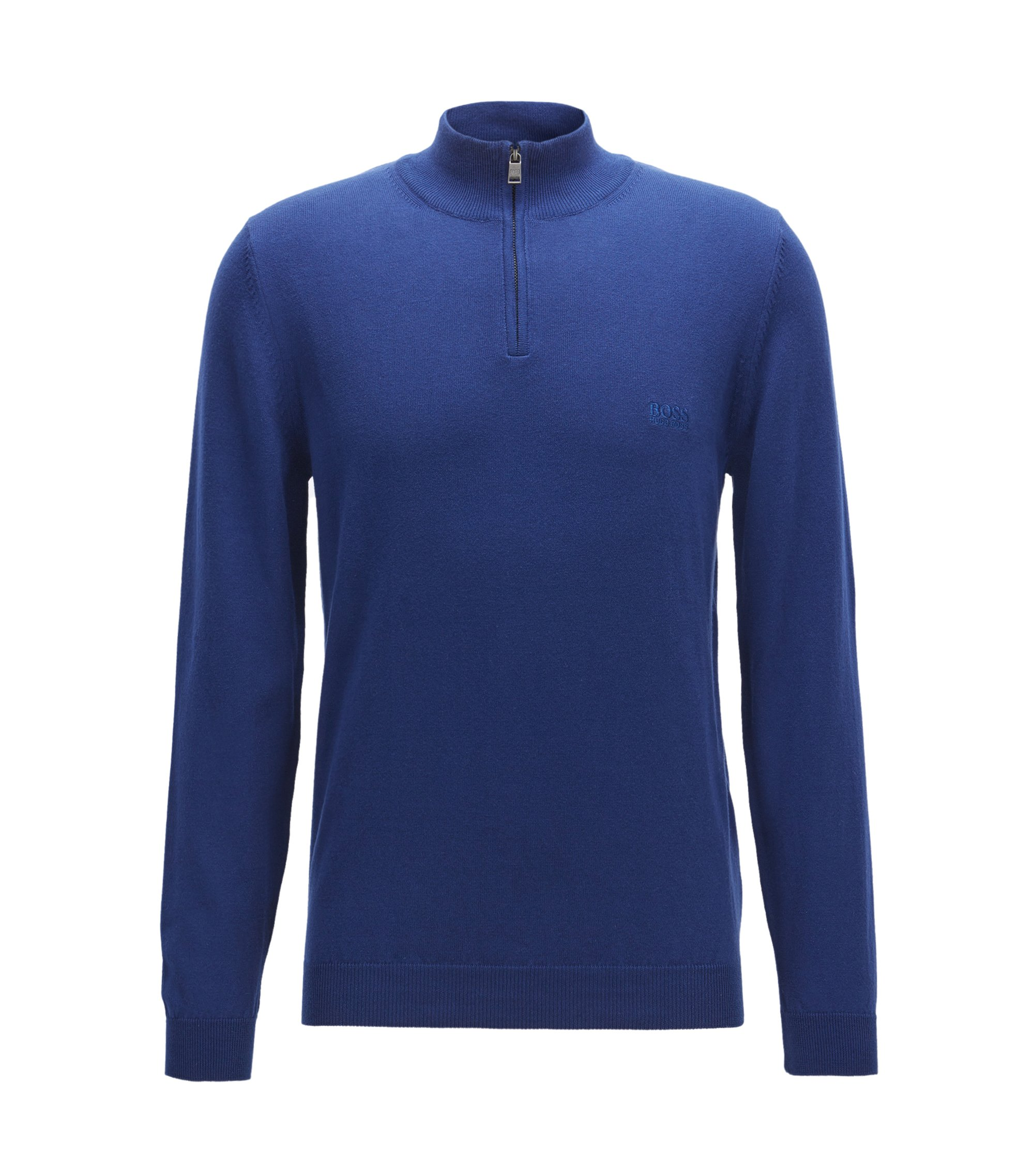 Pull zippé Regular Fit en coton italien, Bleu