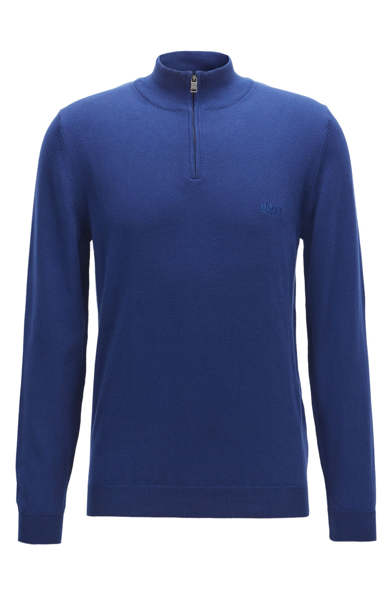 Regular-fit zip-neck sweater in Italian cotton