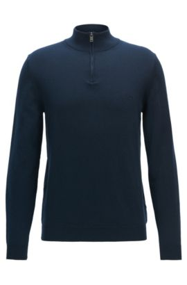 Maglione regular fit in cotone italiano con zip sul collo, Blu scuro