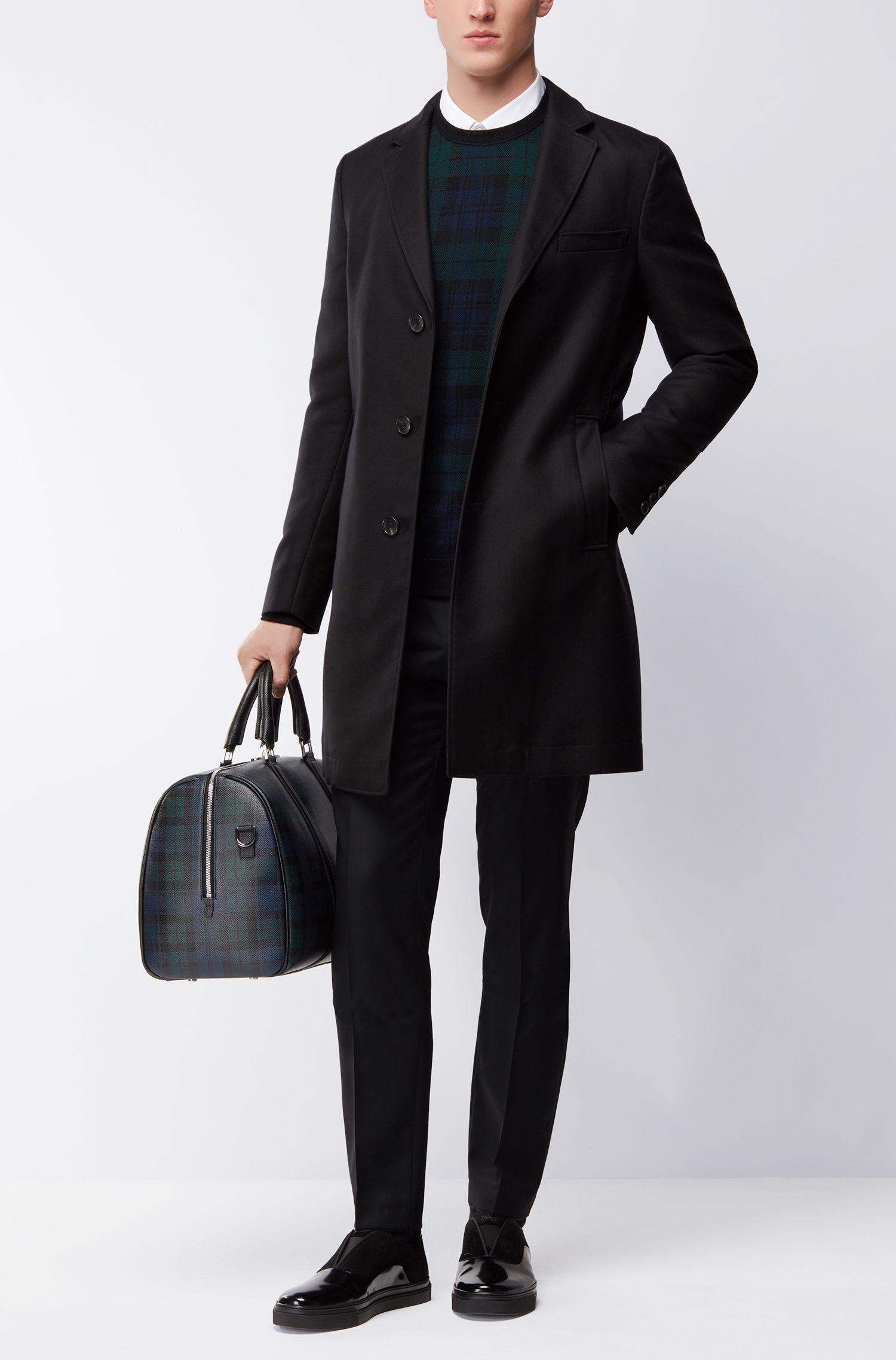 Jersey de cuello redondo en jacquard de lana virgen