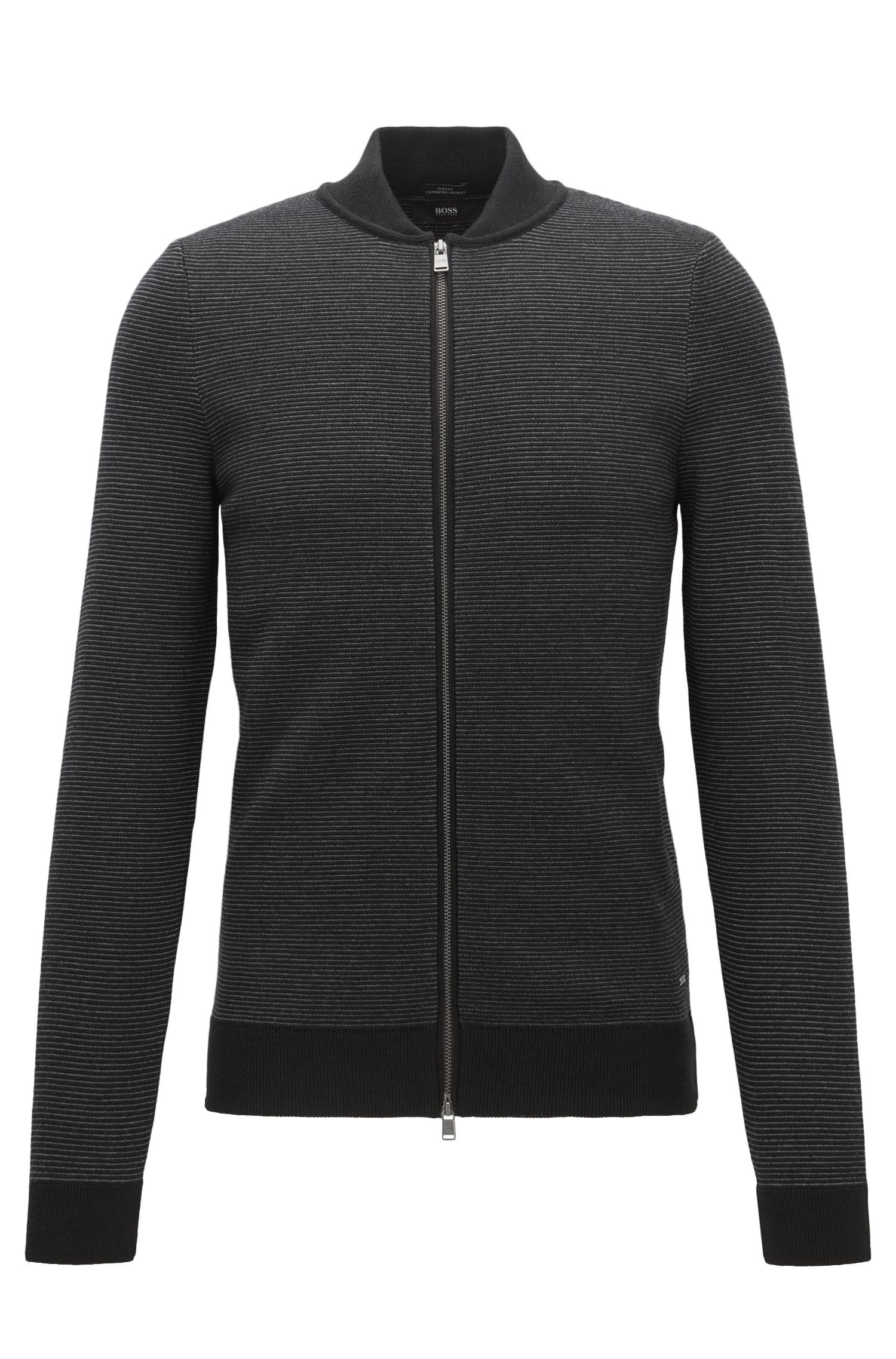Zip-through sweater in virgin wool