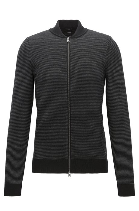 Zip-through cardigan in virgin wool BOSS Where To Buy Cheap Real For Sale For Sale ScXmZY