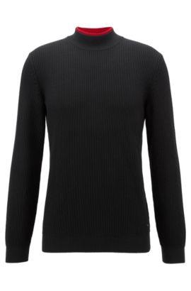 Turtle-neck sweater in pure virgin wool, Black