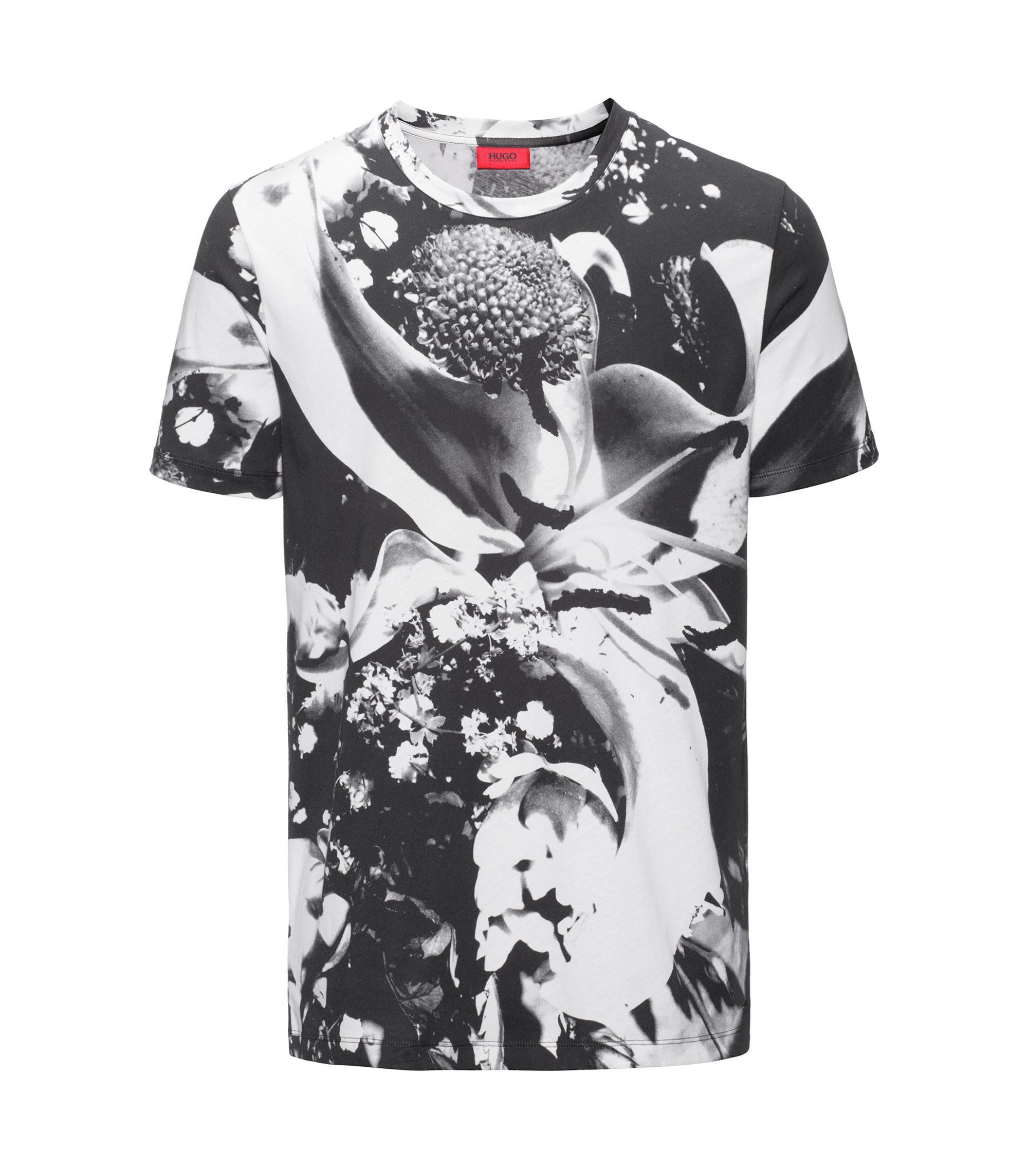 Digital print cotton jersey T-shirt in a relaxed fit, White