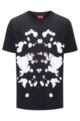 T-shirt Oversized Fit en coton imprimé, Noir